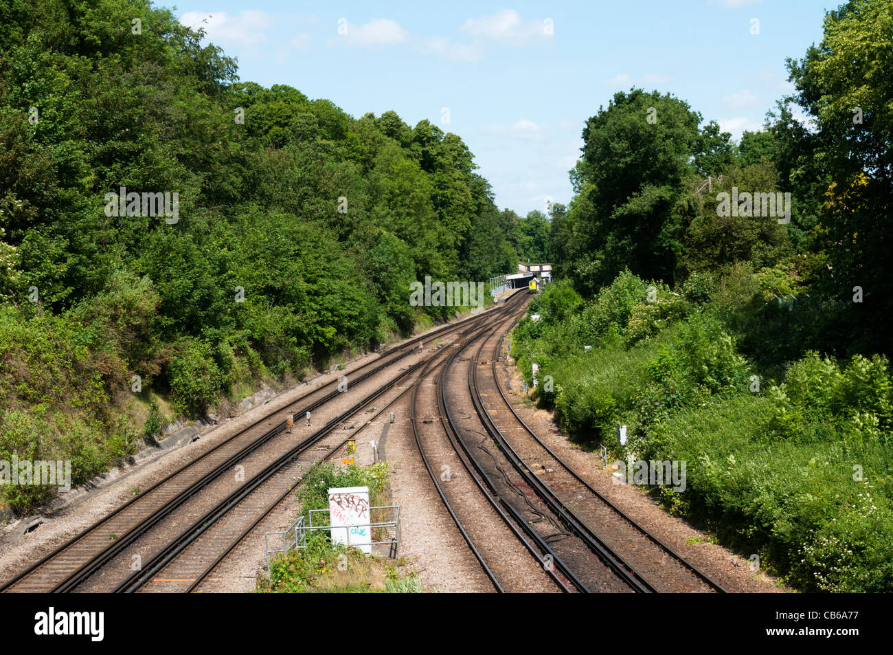 Railway lines outside Ravensbourne station (in background) on the line between London and Sevenoaks in Kent. - Stock Image