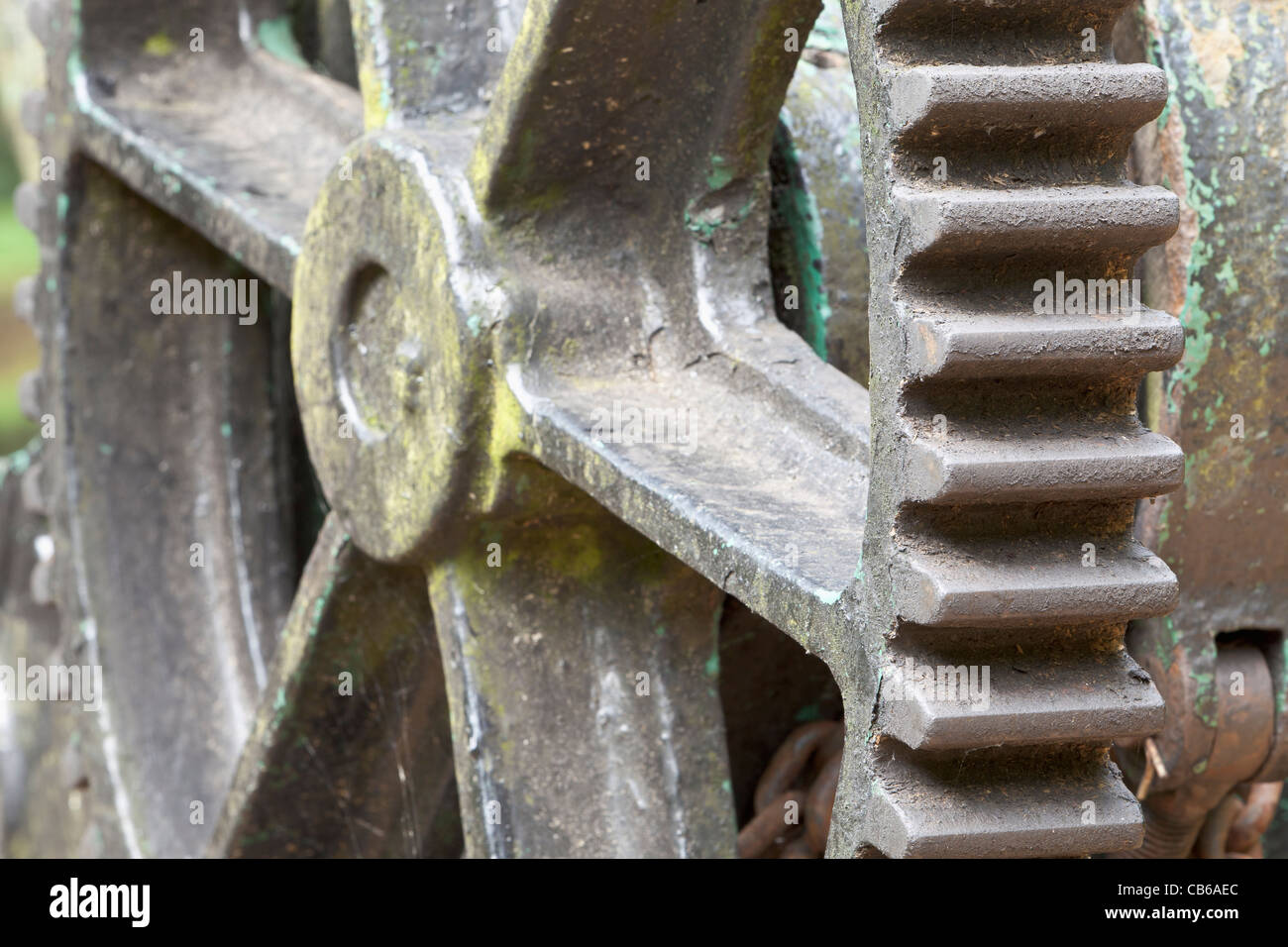 Detail of the gearing of a crane alongside the Bridgewater Canal in Worsley, Manchester, England - Stock Image