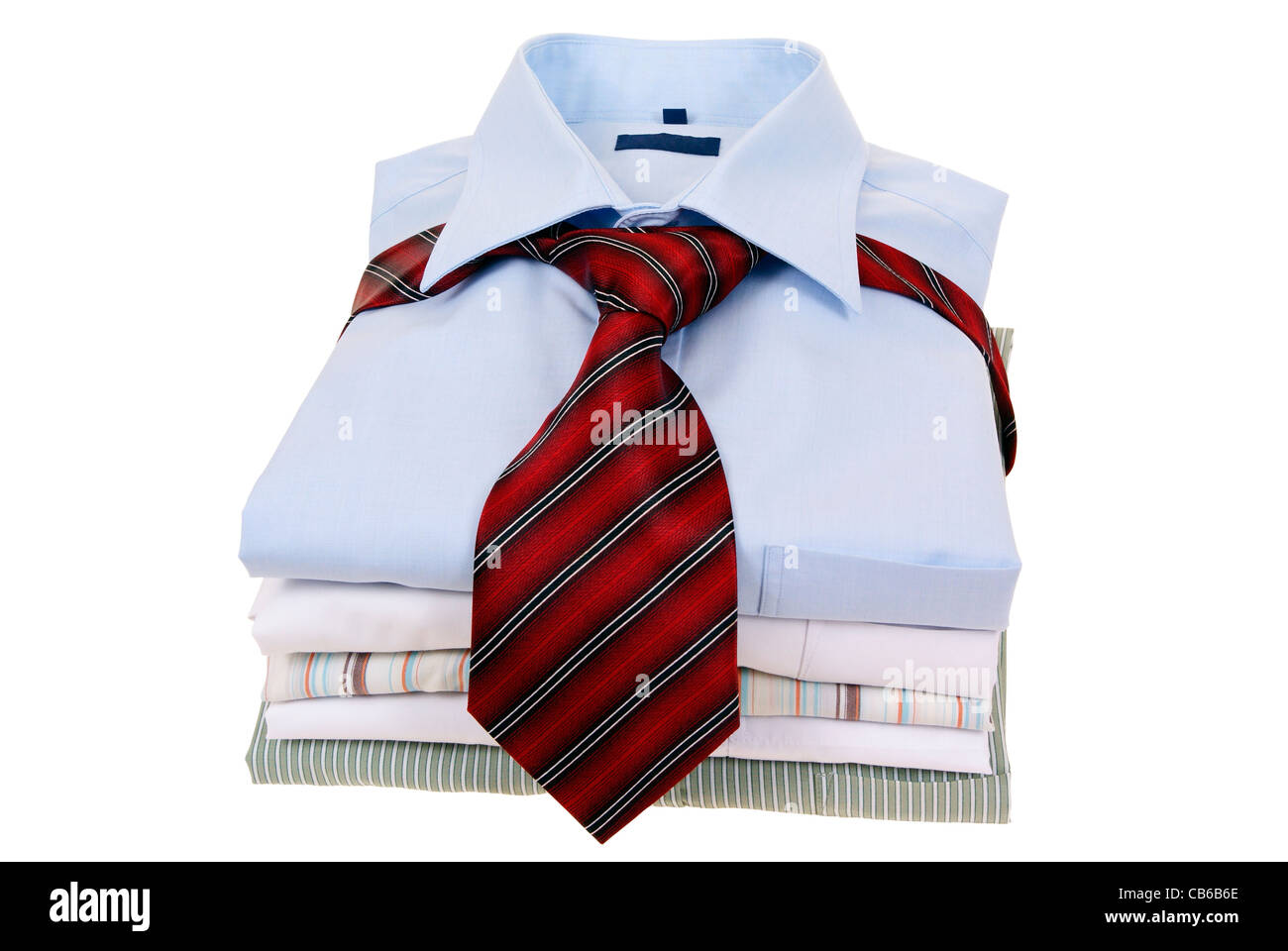 6a745785 men's shirts tied with tie isolated on white background - Stock Image