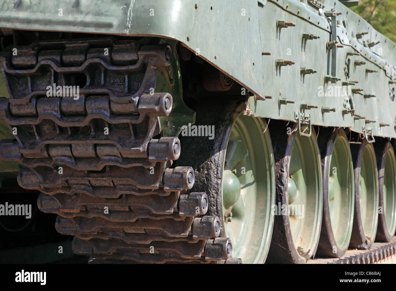 Heavy tank track close-up. Hirizontal composition. - Stock Image