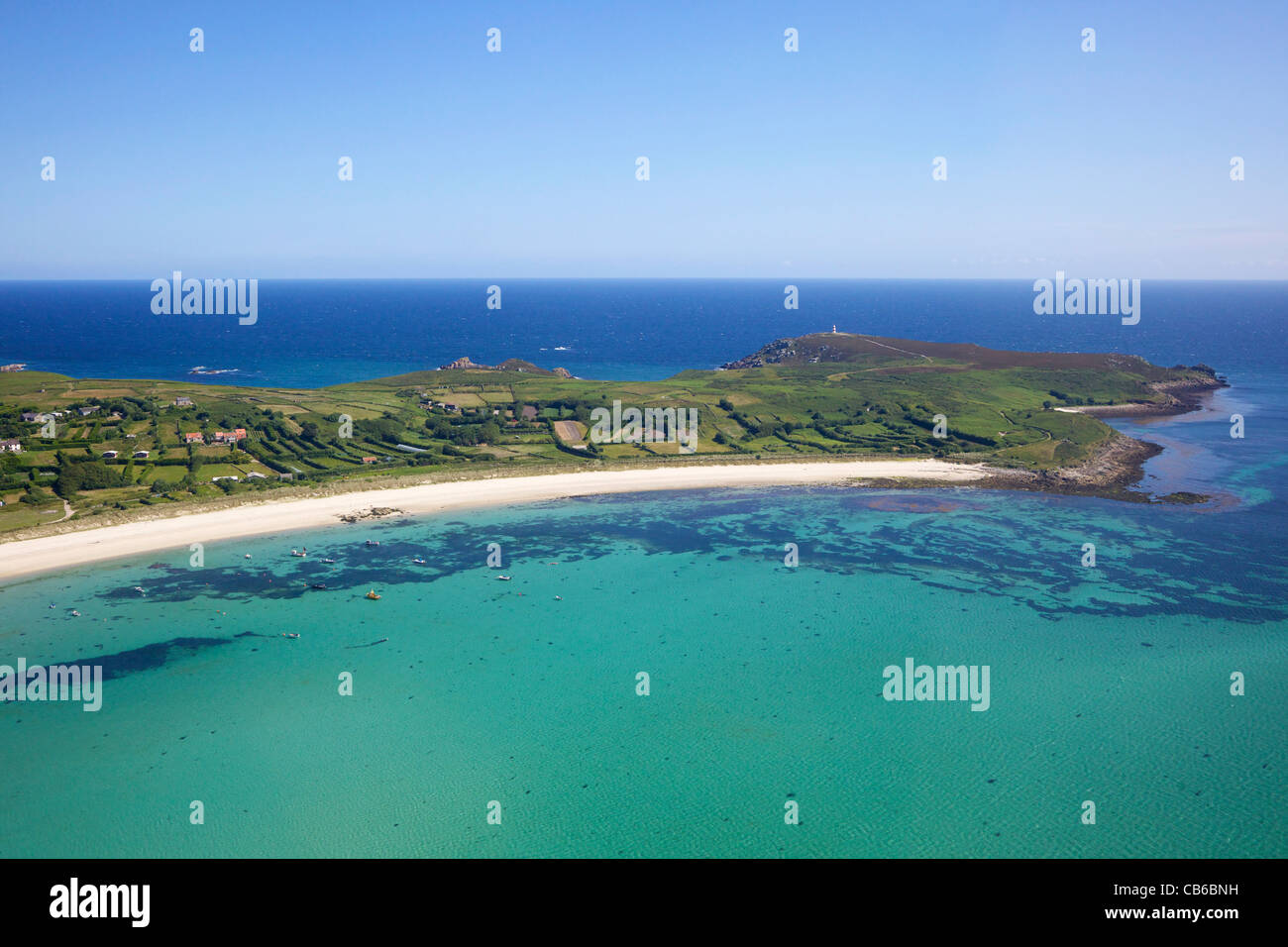 AerIal photo of St Martin's Head, the Isles of Scilly, Cornwall, England, UK, GB, Great Britain, British Isles, - Stock Image