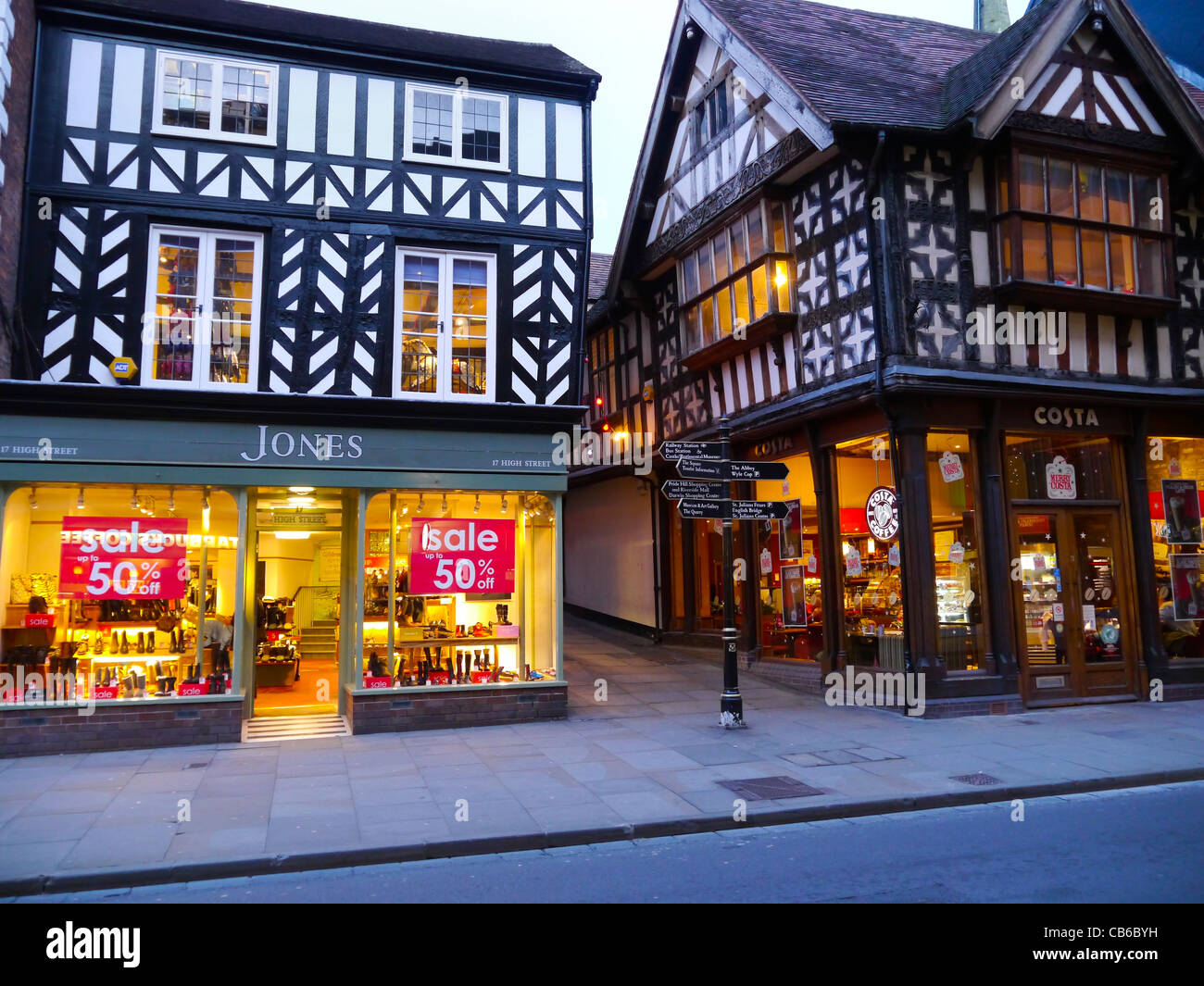 Shop and Costa coffee in Shrewsbury High Street Shropshire UK - Stock Image