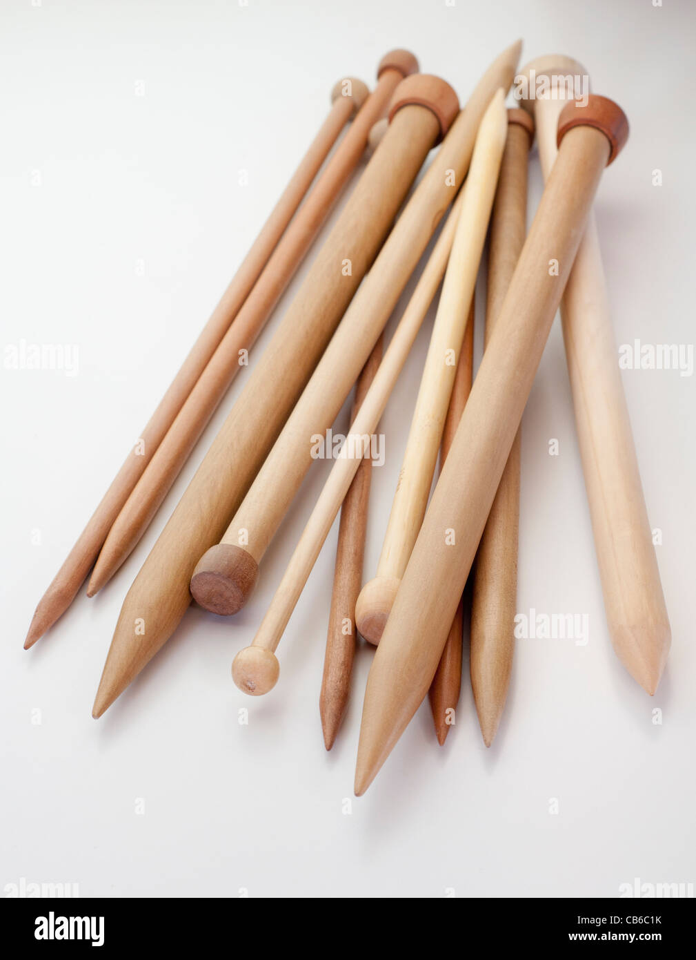 knitting wool sticks of different sizes - Stock Image
