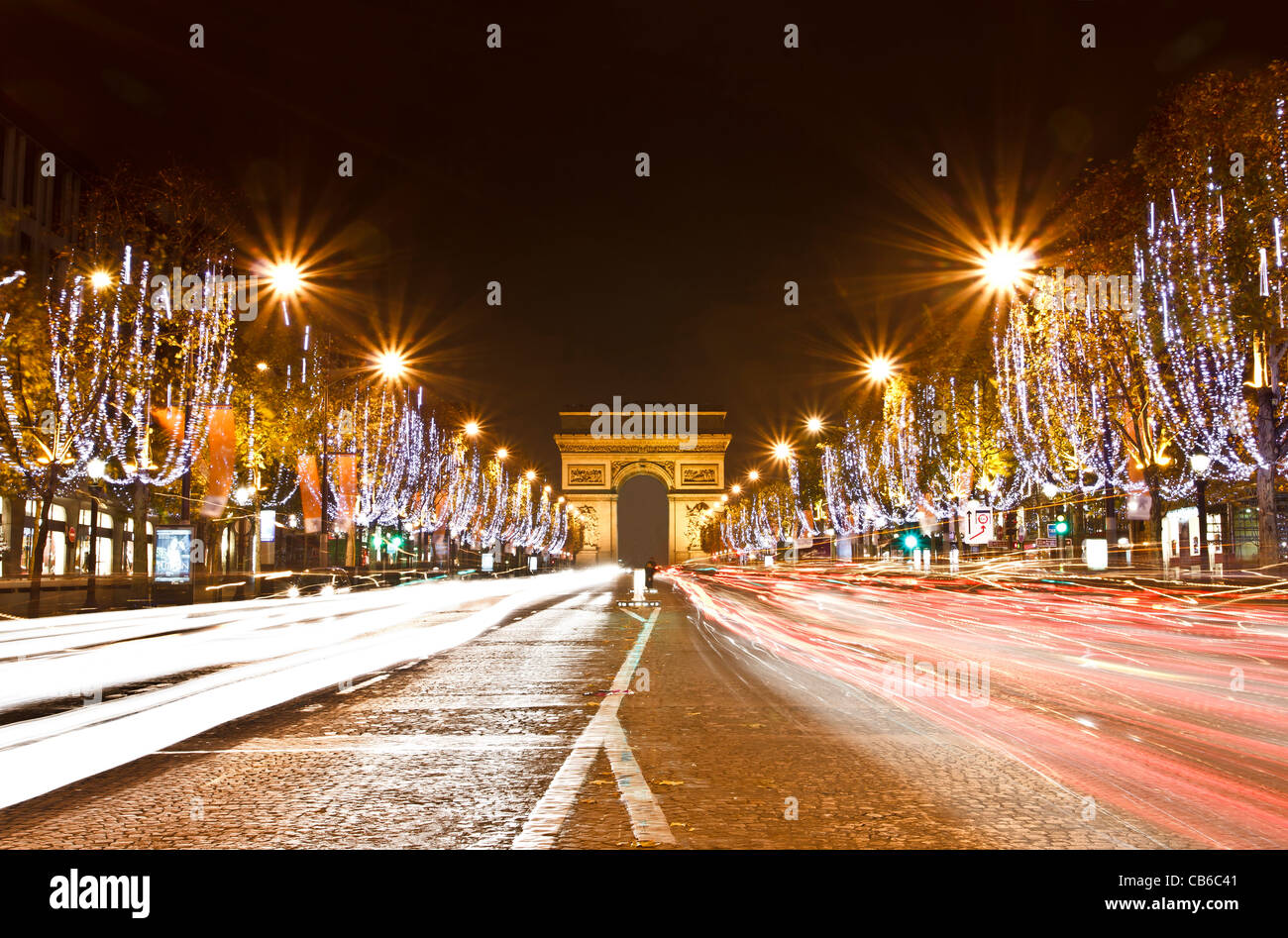 Champs Elysees light on for Christmas day - Stock Image