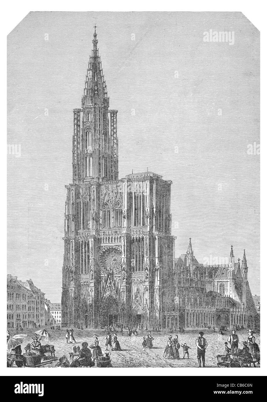 strasburg cathedral Square Our Lady Notre Dame Alsace France architecture stone tower spire Christian religion arch - Stock Image