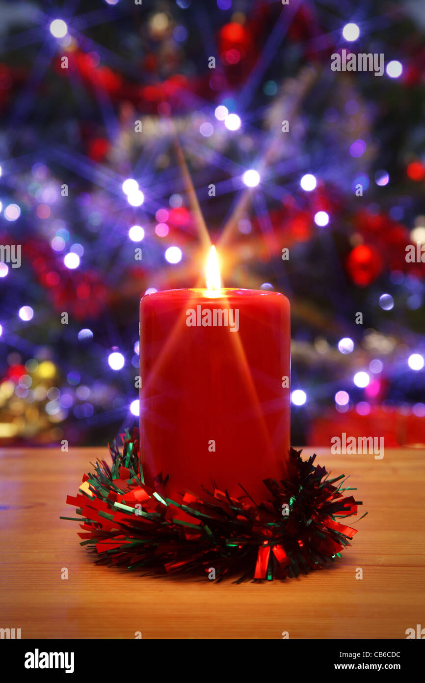 Photo of a Christmas candle with starburst, - Stock Image