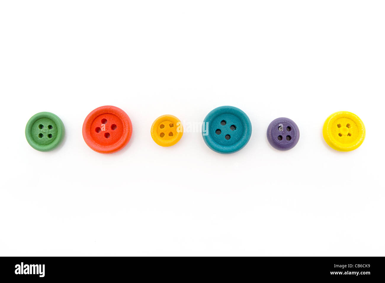 Line of colorful buttons isolated on white - Stock Image