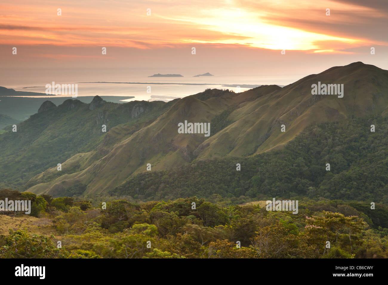Daybreak in Altos de Campana national park, Panama province, Republic of Panama. - Stock Image