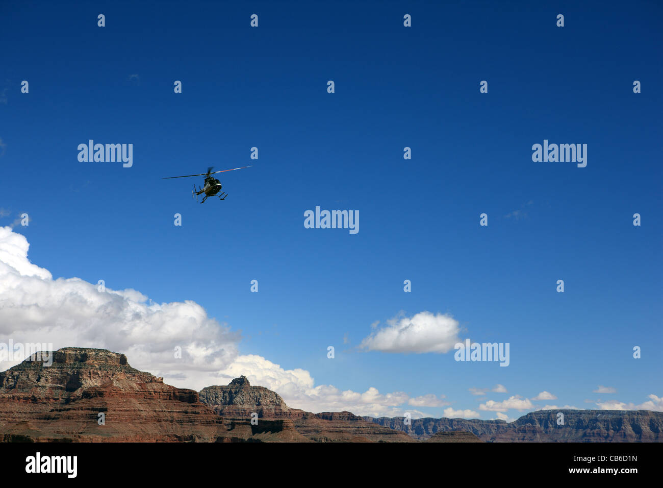 Helicopter tour over the Grand Canyon in Arizona USA - Stock Image