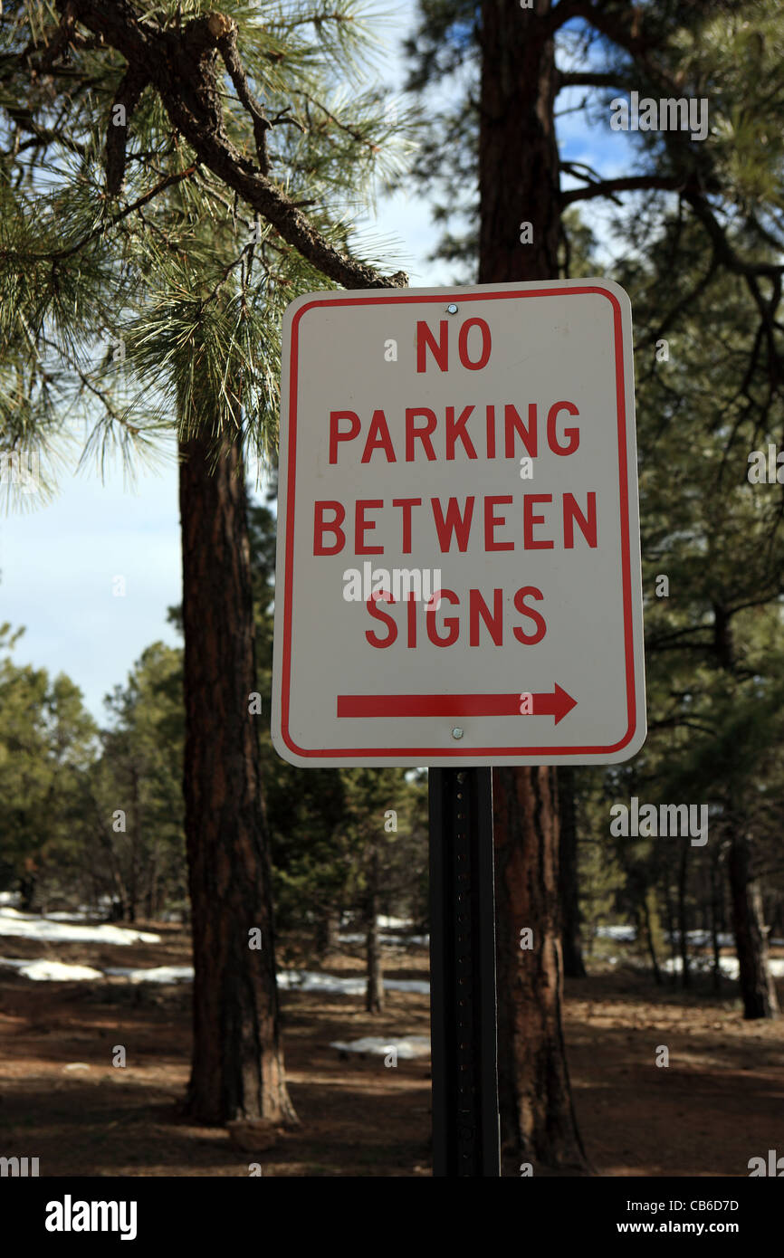 No Parking sign in a car park at the Grand Canyon USA - Stock Image