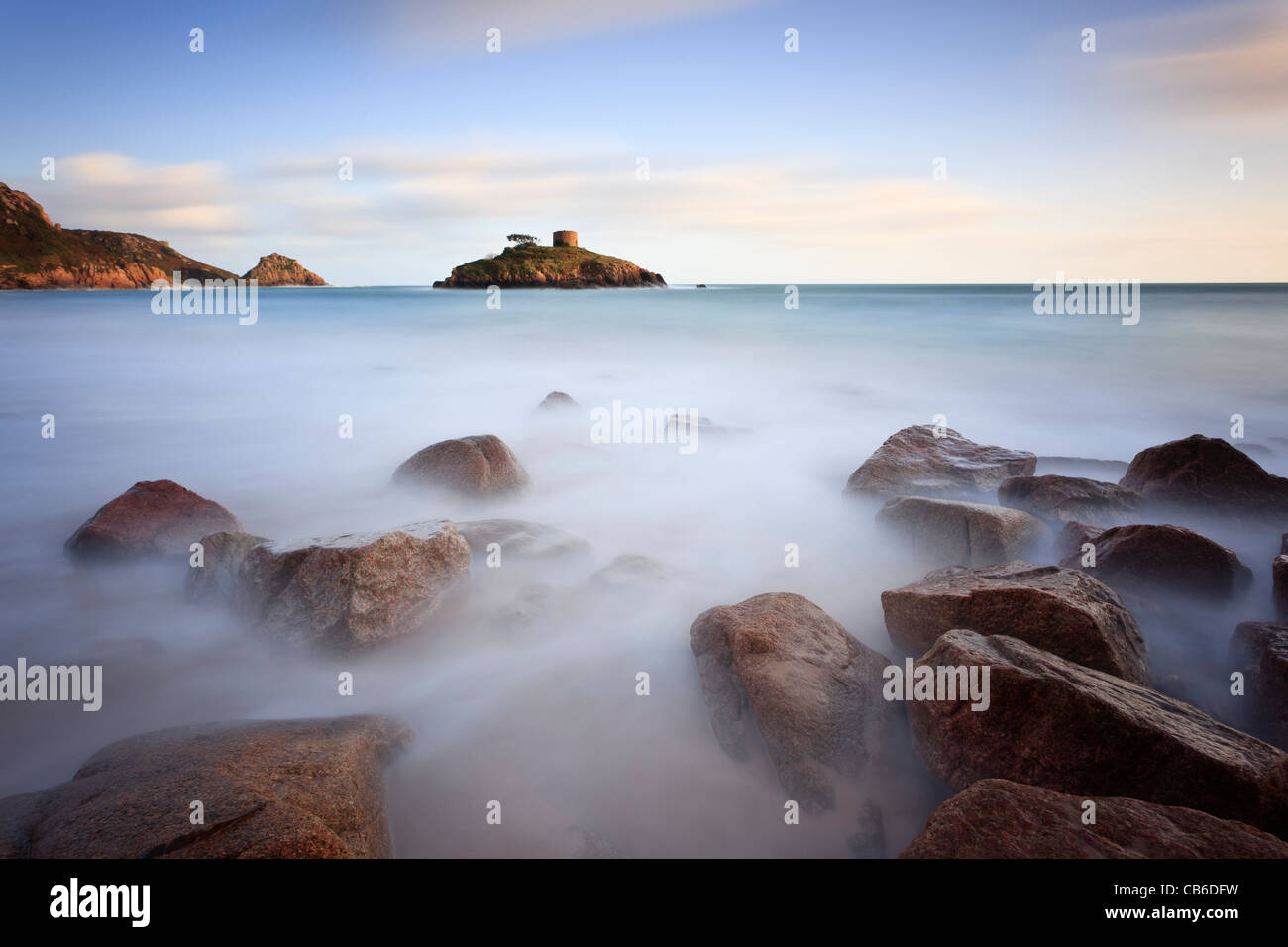 Evening light at Portelet, Jersey, Channel Islands - Stock Image