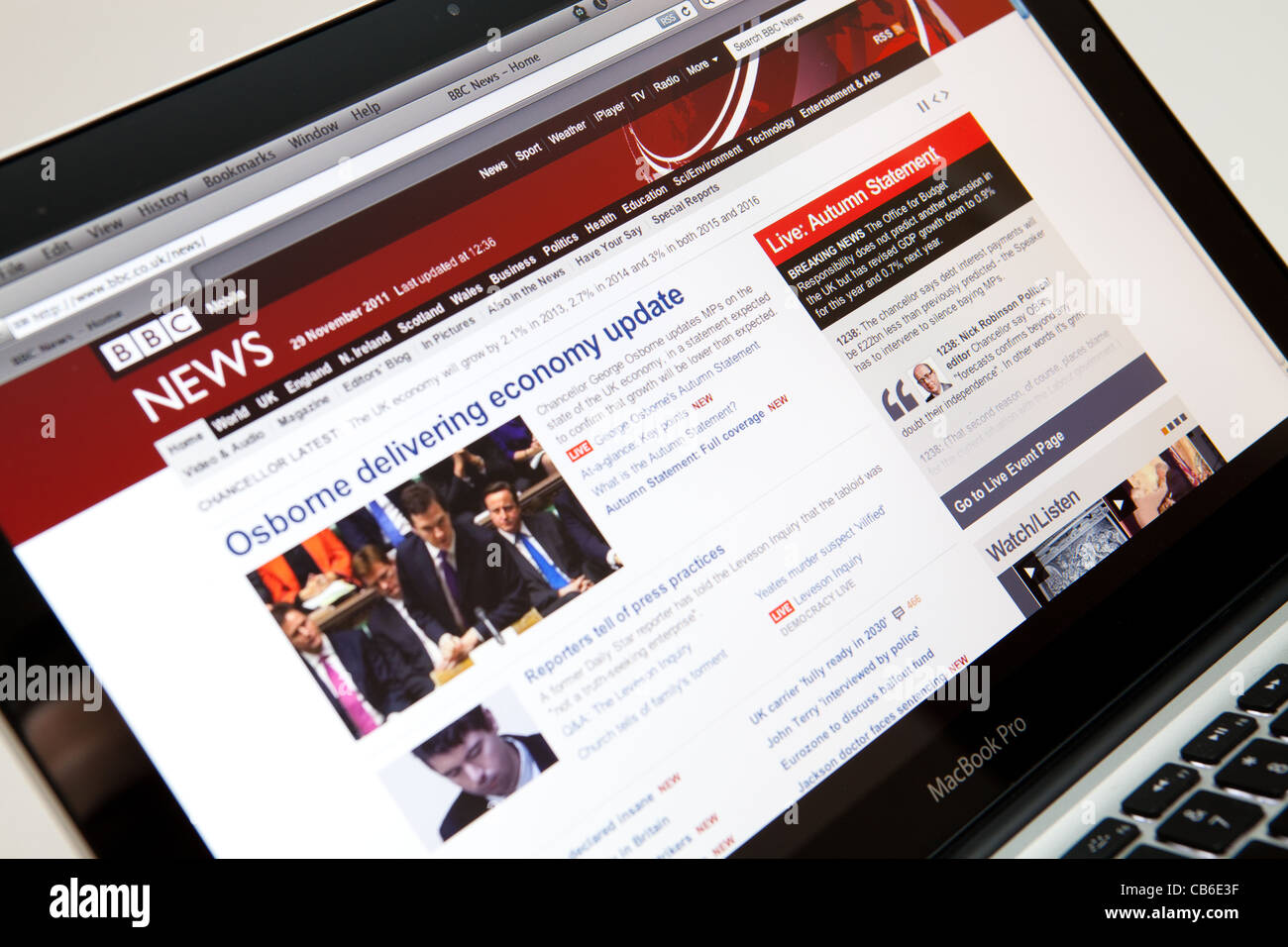 BBC News Website Screen shot of web page - Stock Image