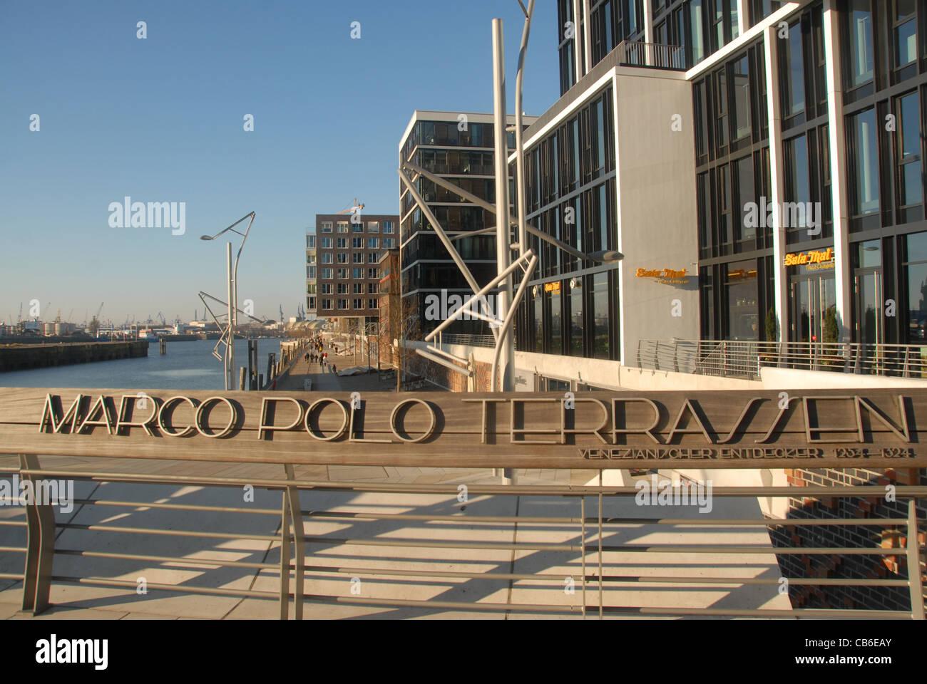 New constructions qt Marco Polo Terrassen in Hamburg's port redevelopment precinct HafenCity - Stock Image