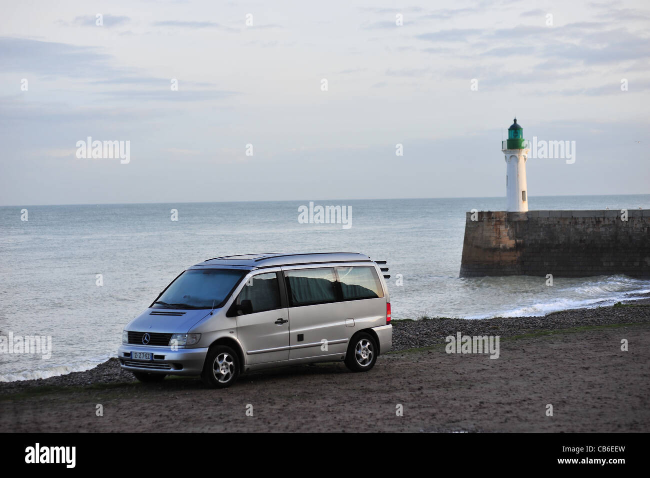 Normandy, Saint Valery en Caux town, Mercedes Marco Polo on seaside, camping car at dawn - Stock Image