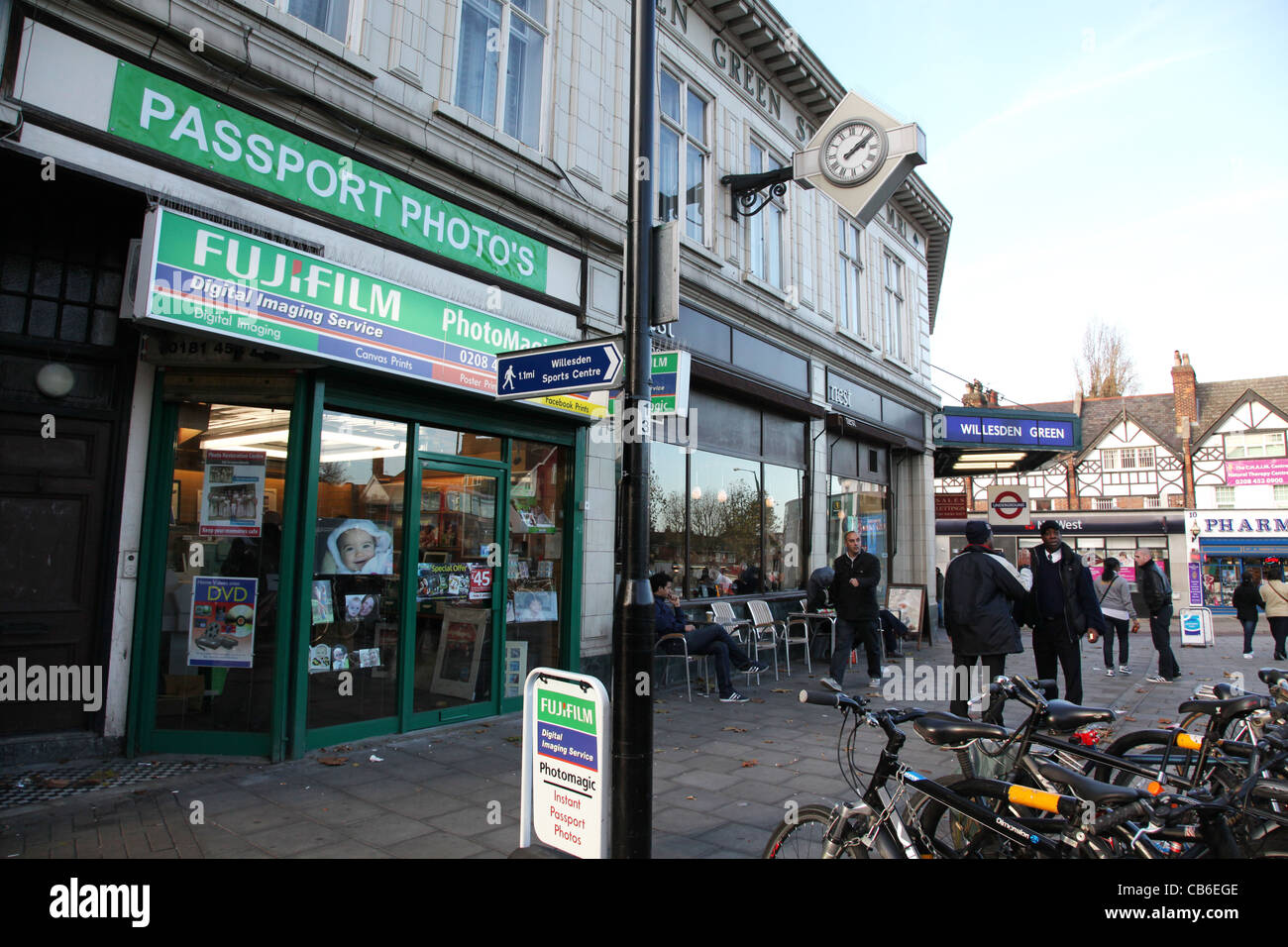 Willesden Green parade of shops by the Underground Station - Stock Image