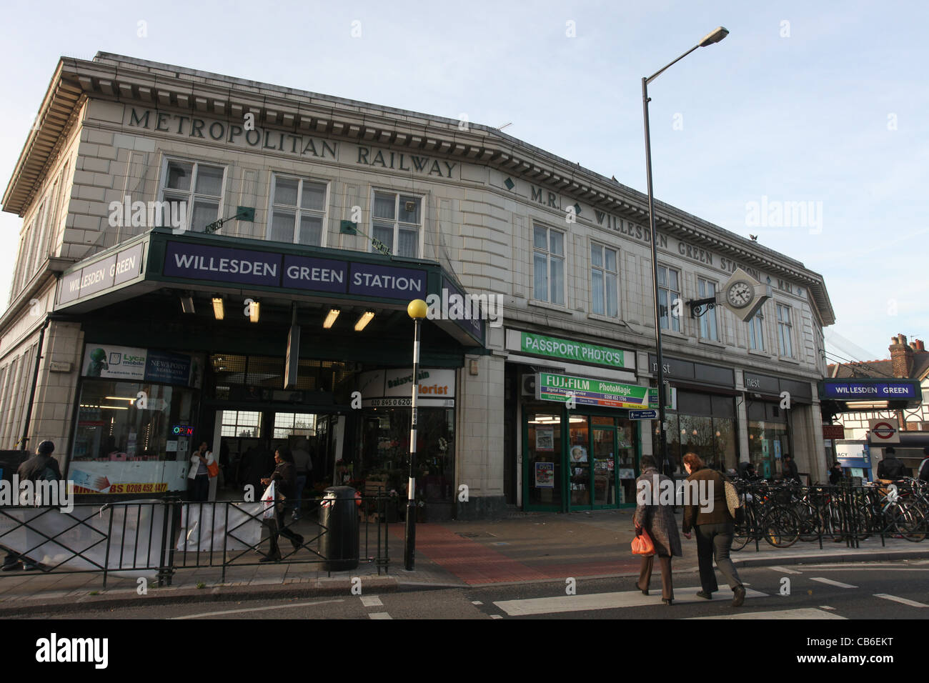 Willesden Green Underground Station and shops - Stock Image