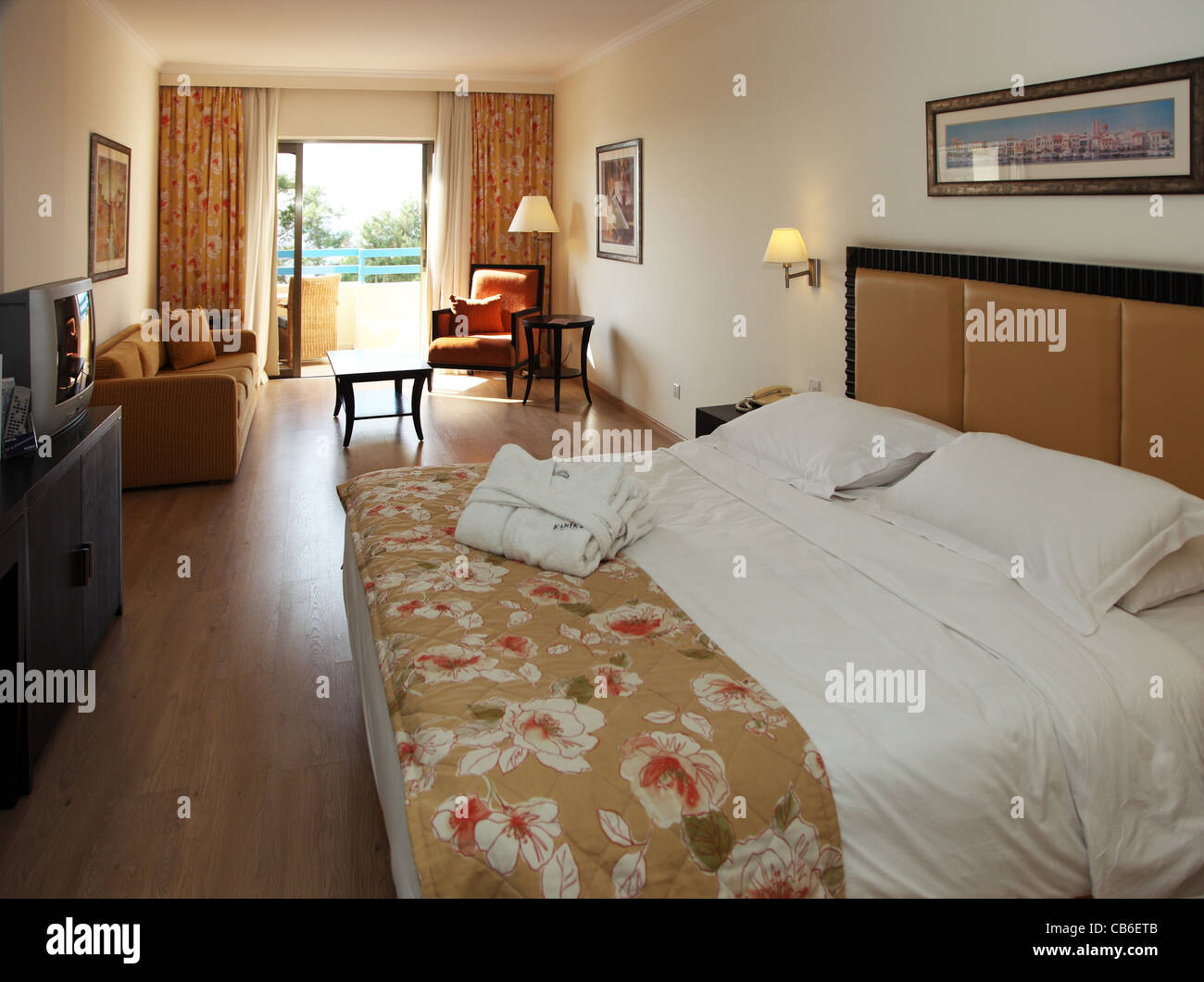 bedroom, Elias Beach Hotel, Lemasos, Cyprus Stock Photo