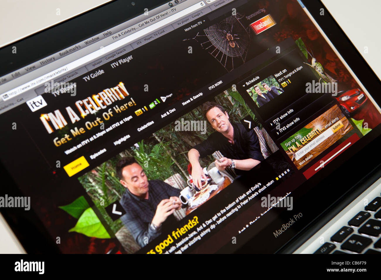 I'm a Celebrity Get Me Out Of Here Tv Show Website Screen shot of web page - Stock Image