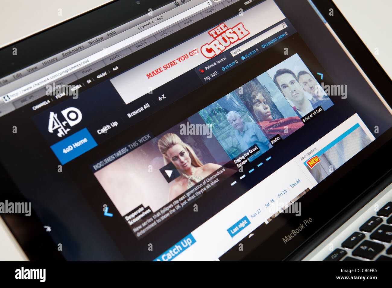 4OD TV Online Website Screen shot of web page - Stock Image