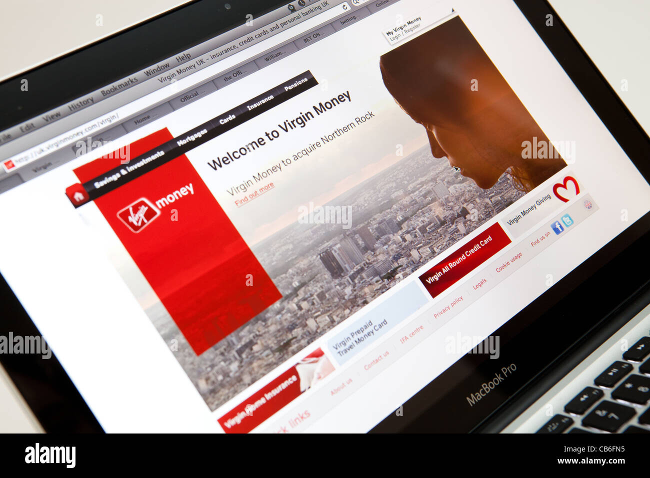 Virgin Money Website Screen shot of web page - Stock Image
