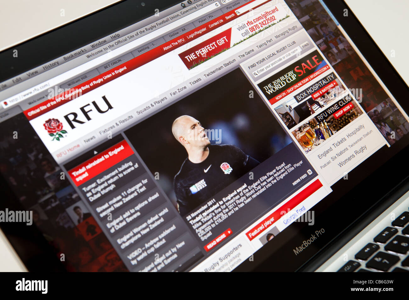 RFU Rugby Football Union Website Screen shot of web page - Stock Image