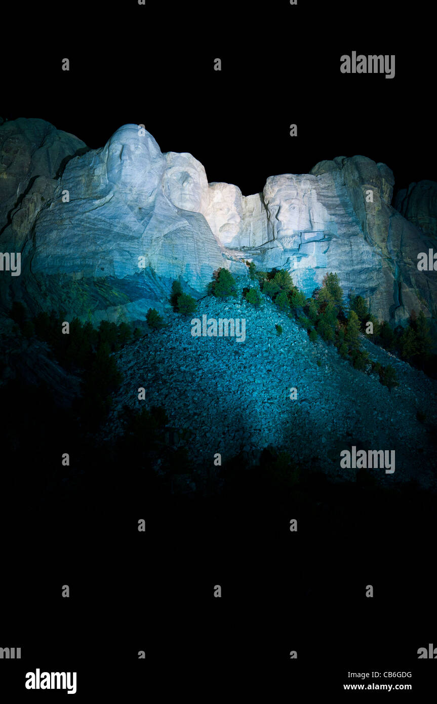 Faces at night, Mount Rushmore National Memorial, Keystone, South Dakota. Stock Photo
