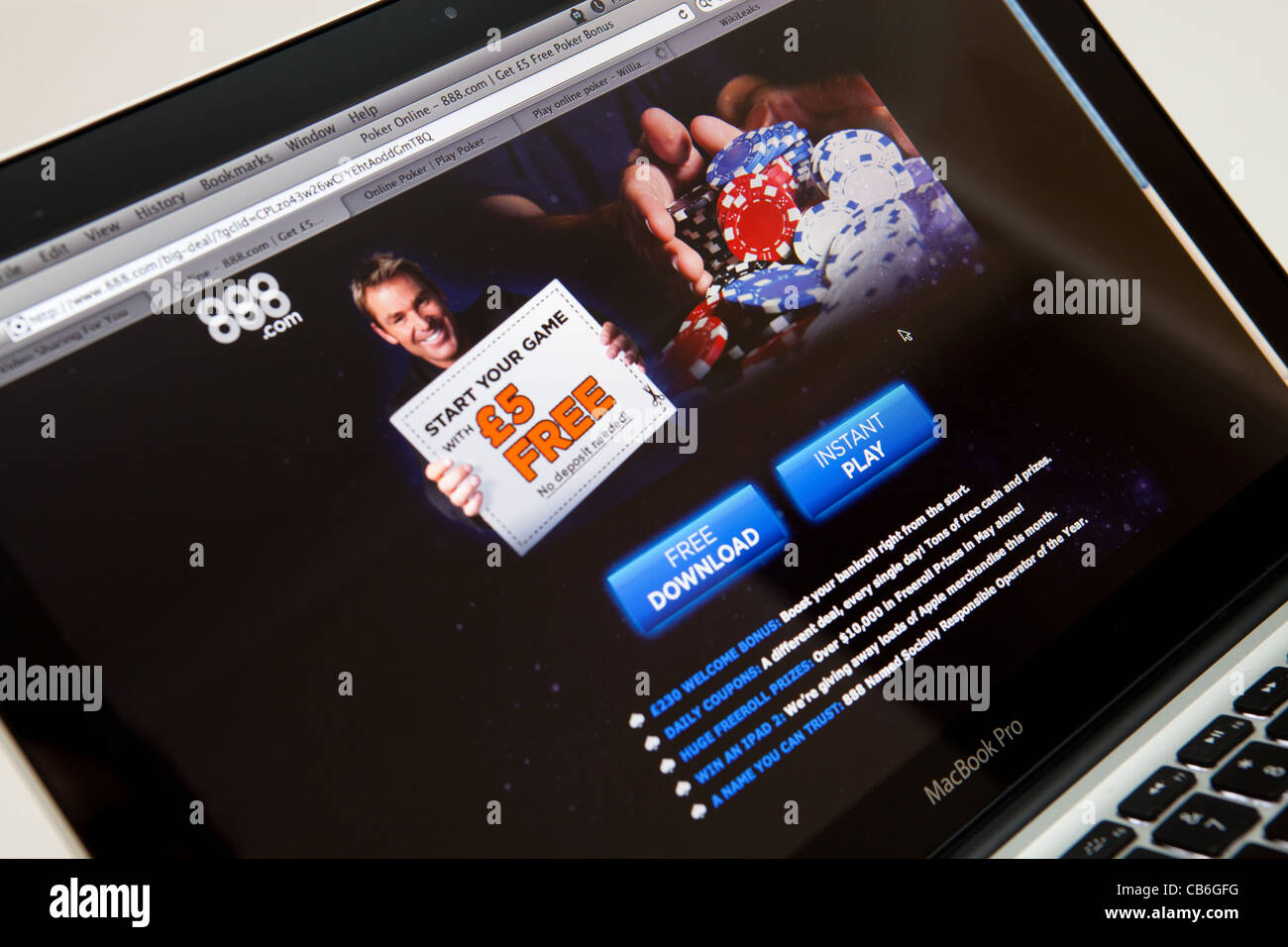 888 Betting and Poker Website Screen shot of web page - Stock Image