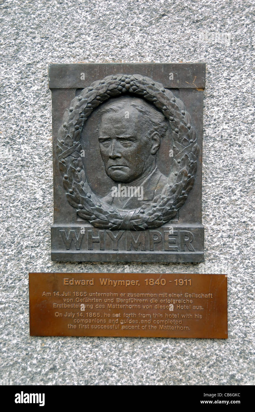 Plaque commemorating Edward Whymper who led the party making first successful attempt to climb The Matterhorn On - Stock Image