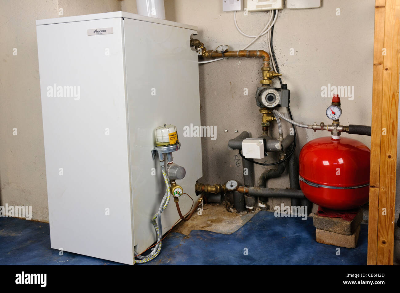 Newly installed oil burning boiler in a high pressure domestic Stock ...