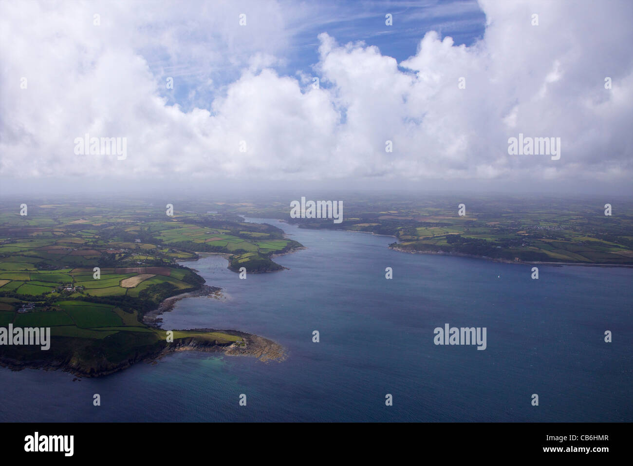 Aerial view of Helford River estuary in summer sun, Cornwall,Southwest  England, UK, United Kingdom, GB, Great Britain, Stock Photo