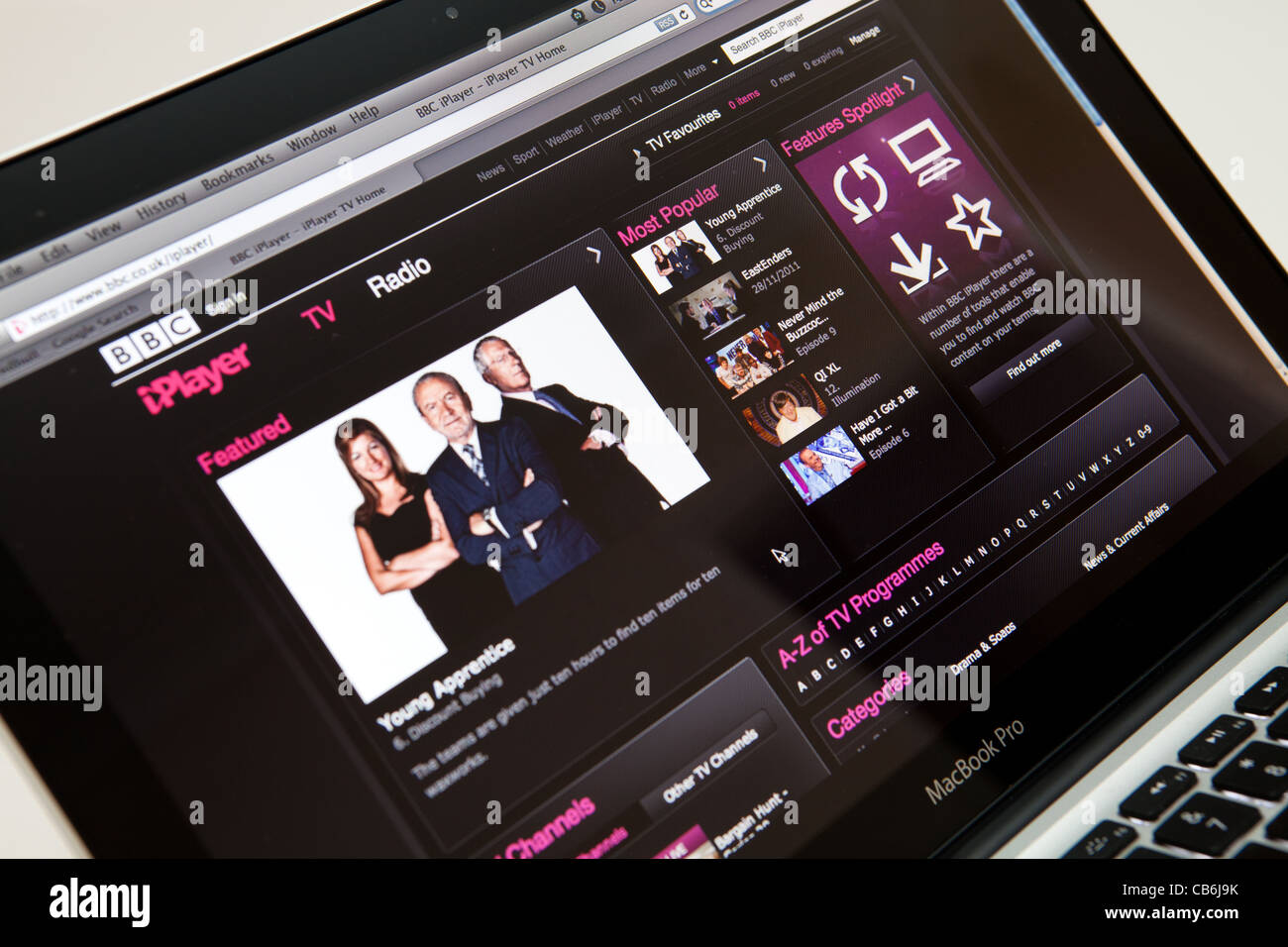 iPlayer Website Screen shot of web page - Stock Image