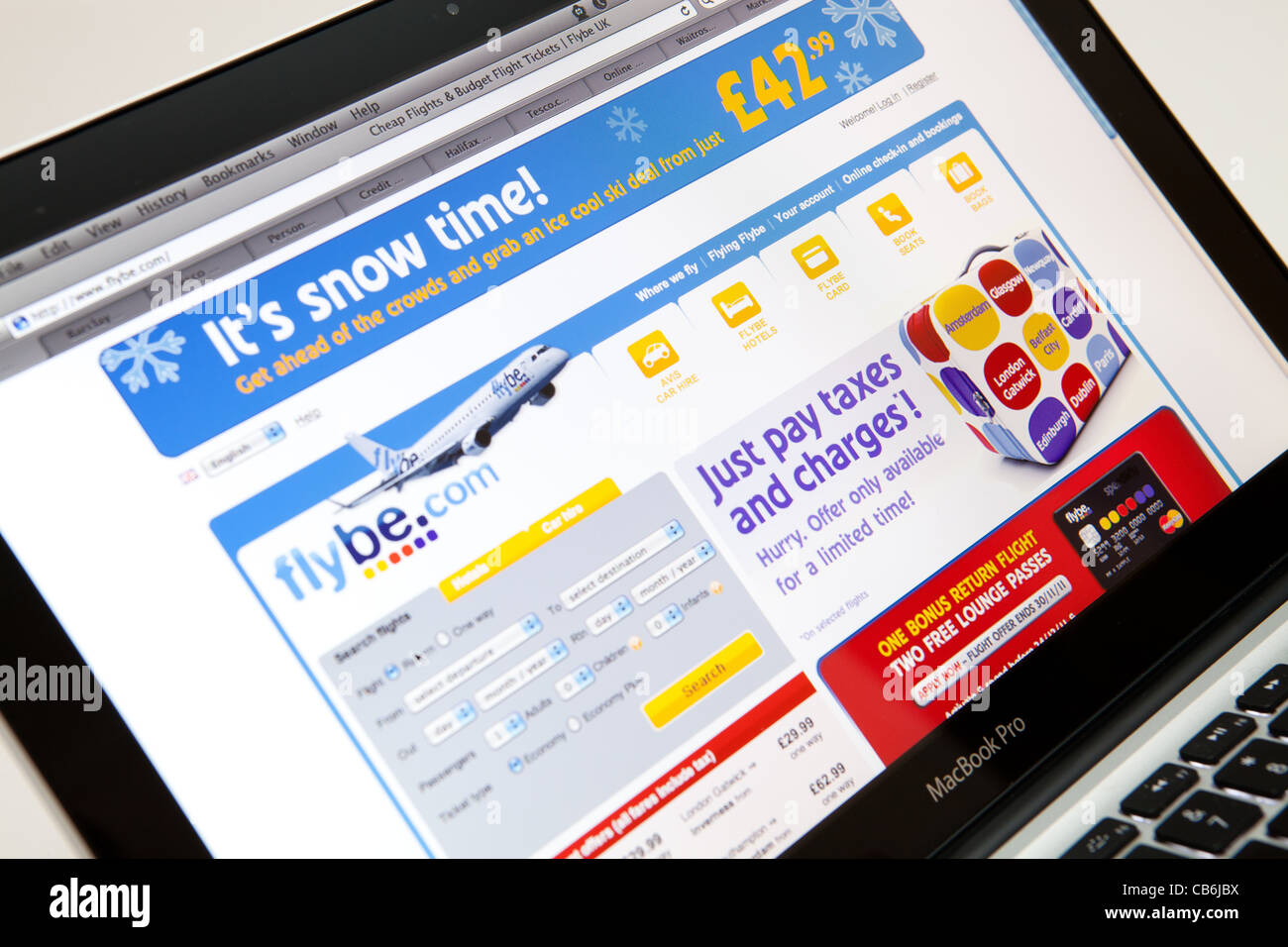 FLYBE Website Screen shot of web page - Stock Image