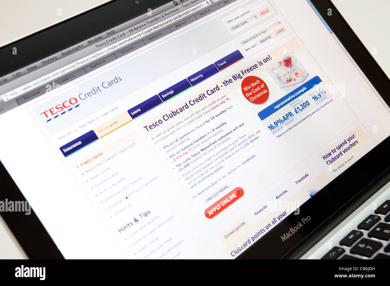 TESCO Website Screen shot of web page - Stock Image