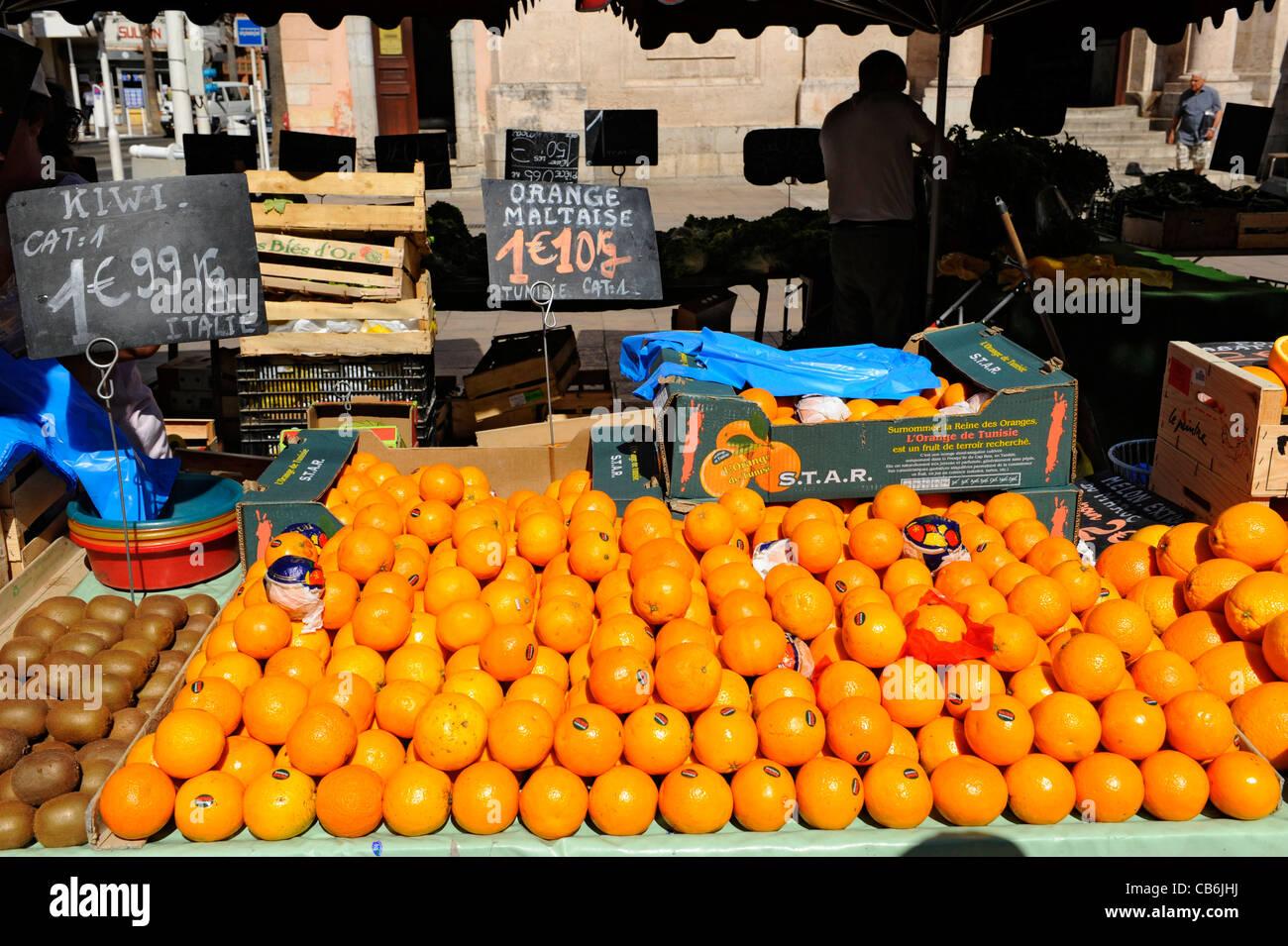Oranges Display Market Toulon France French Riviera Mediterranean Europe Harbor Stock Photo