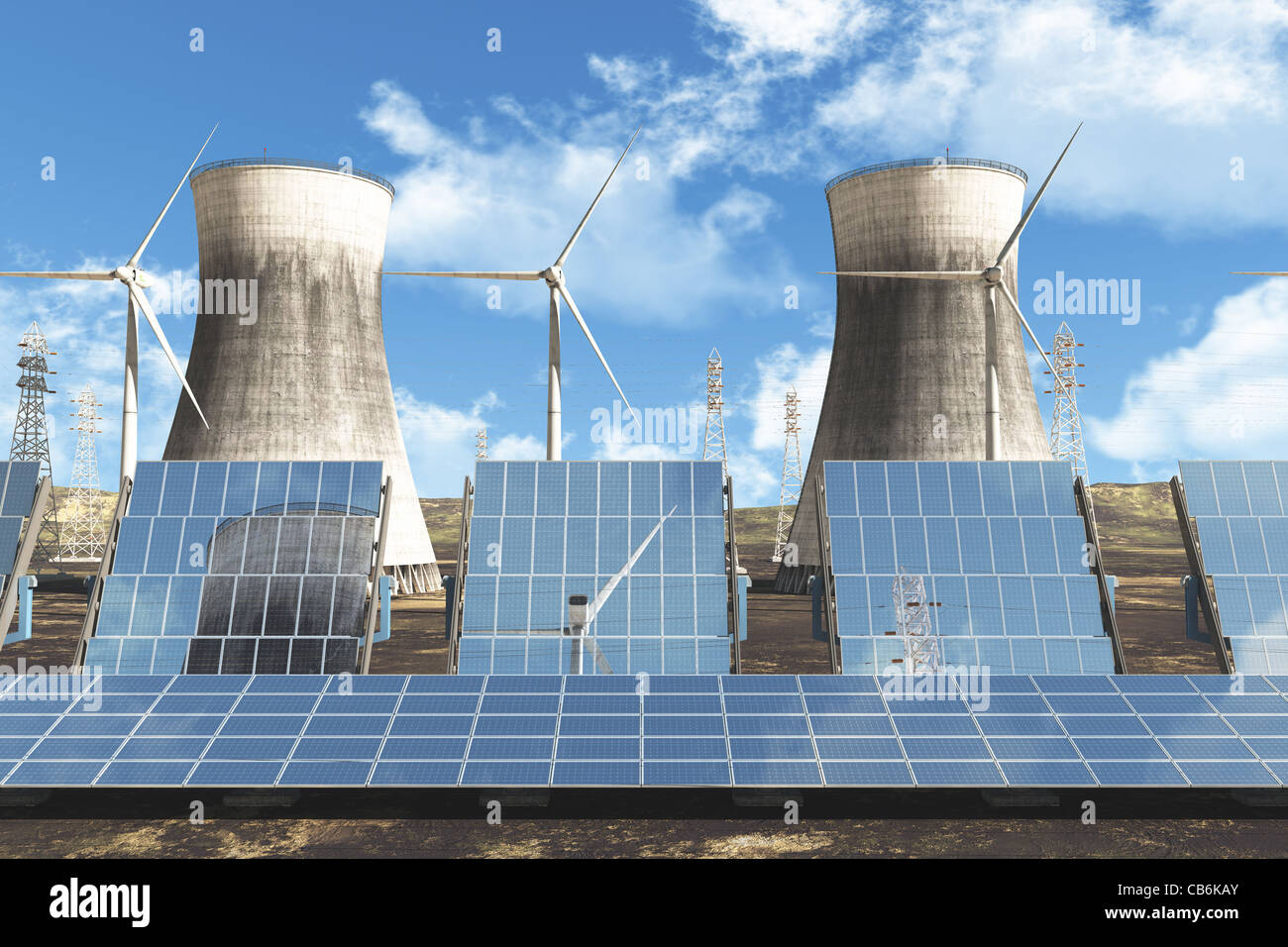 Solar panels Wind Turbines Nuclear Cooling Towers and High Voltage Electric Poles under cloudy blue sky 3D render Energy Concept Stock Photo