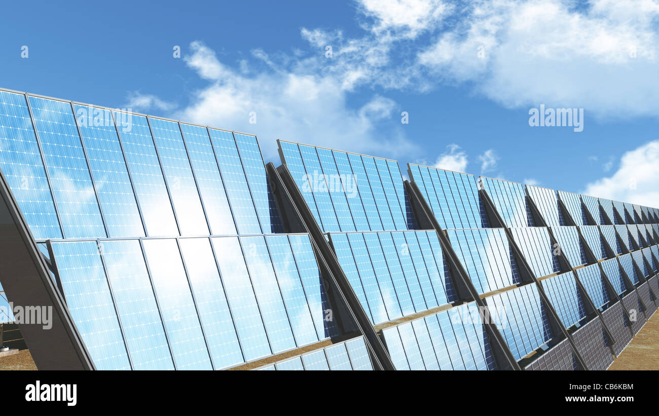 Solar panels and under cloudy blue sky 3D render Energy Concept Stock Photo