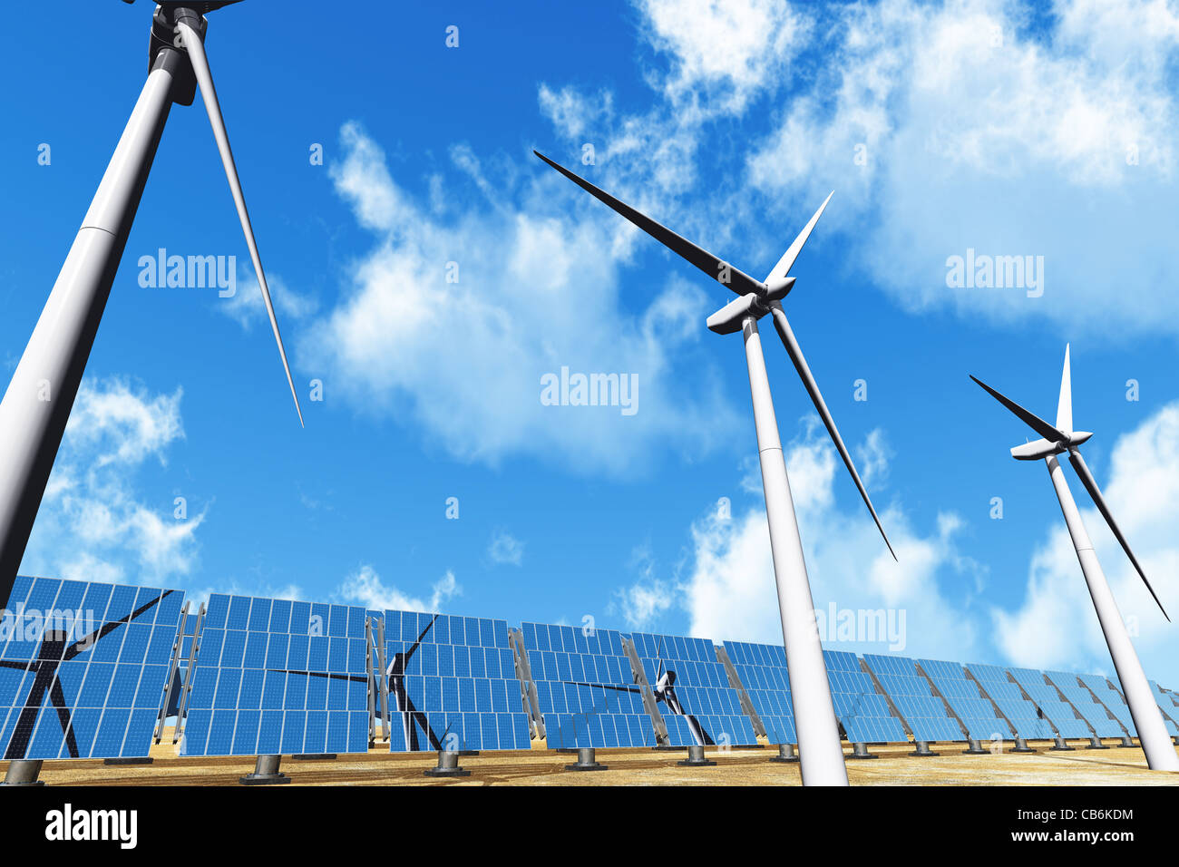 Solar panels and Wind Turbines under cloudy blue sky 3D render Energy Concept Stock Photo