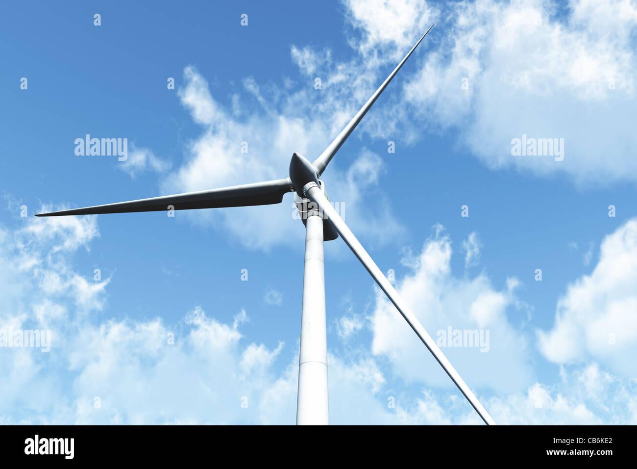 Wind Turbine under cloudy blue sky 3D render Energy Concept Stock Photo