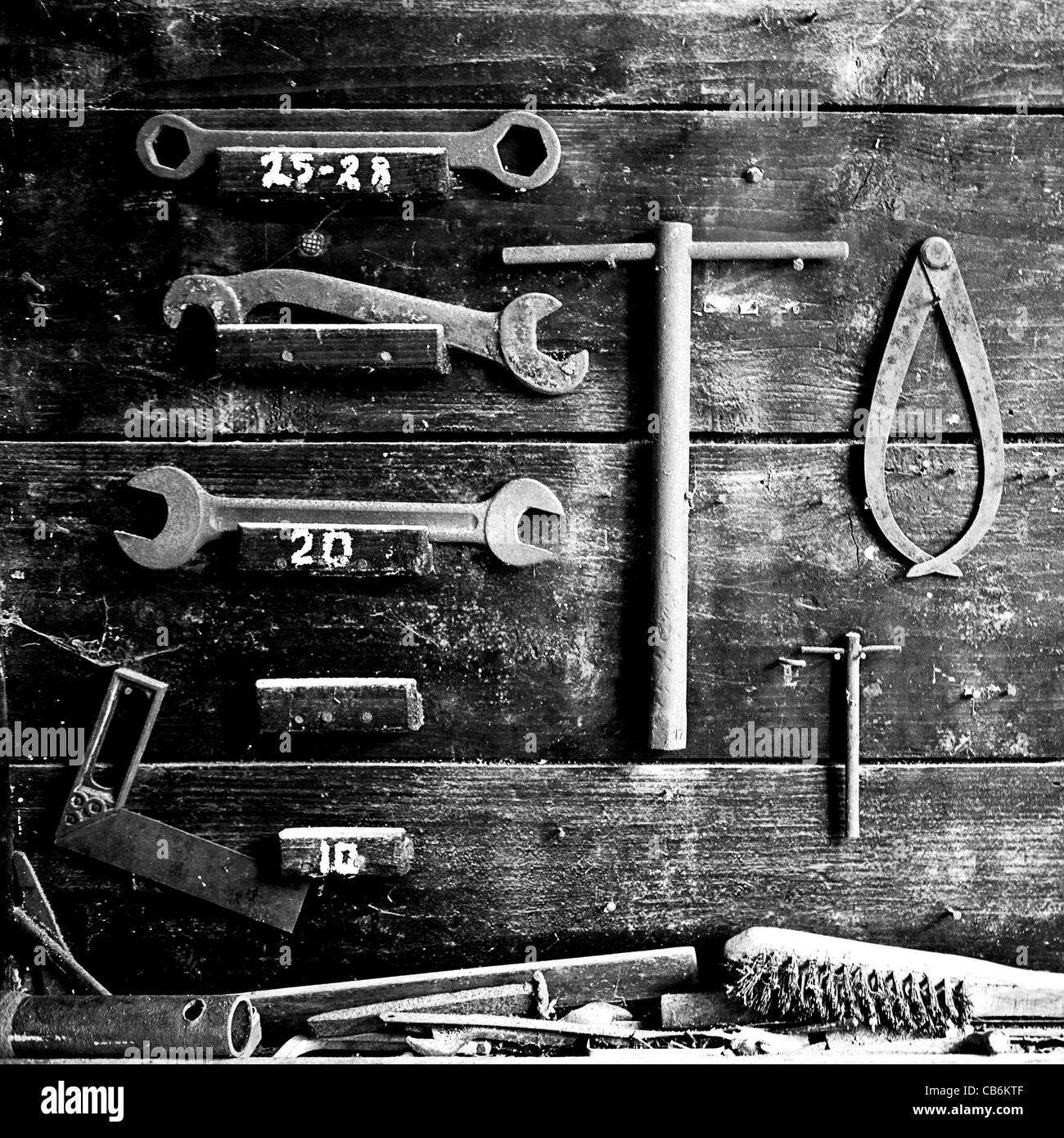 working tools in ancient workshop - Stock Image