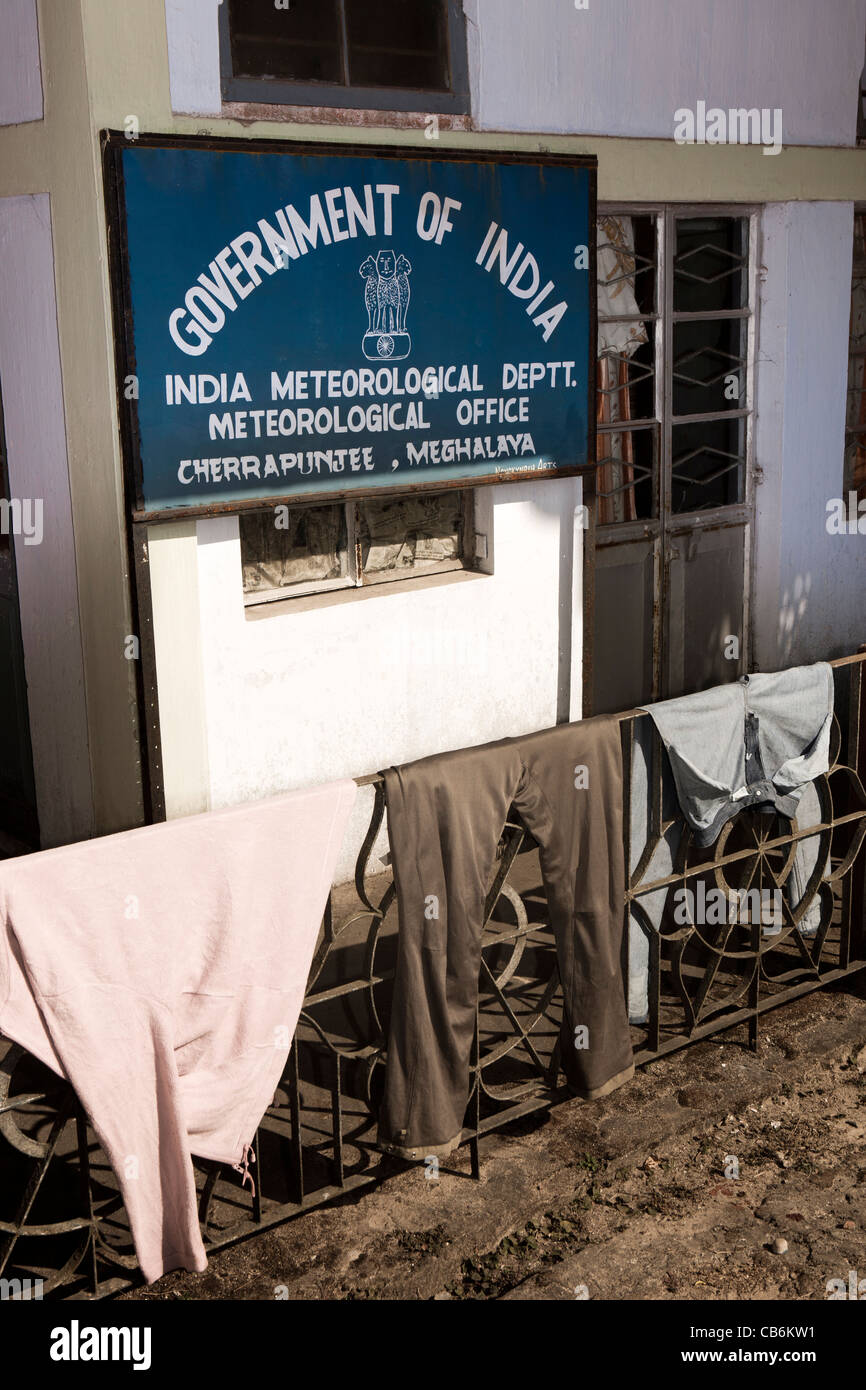 India, Meghalaya, Cherrapunji, the wettest place on earth, Indian Meteorological Department Office - Stock Image