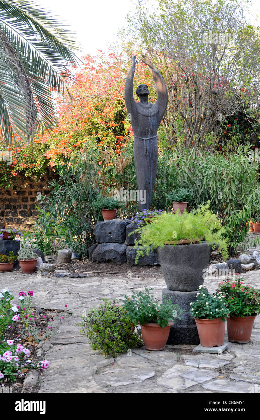 Franciscans Monk Statue in Capernaum Garden, Galilee, Israel,Asia, Middle East - Stock Image