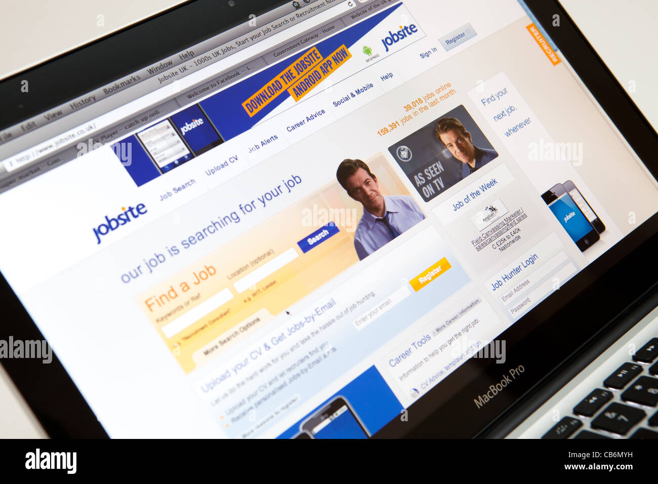 Website Screen shot of web page - Jobsite - Stock Image