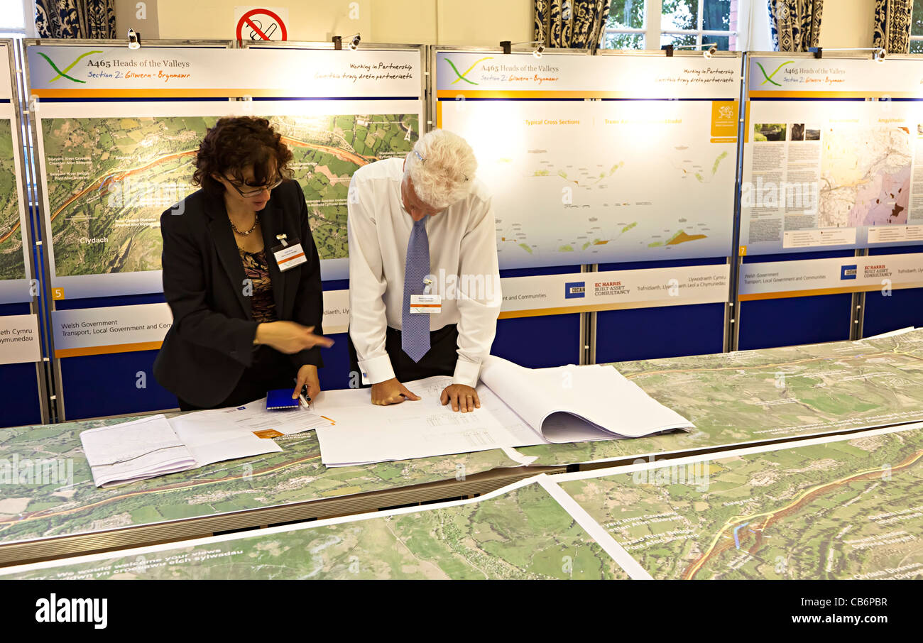 Consultation meeting for Costain road development on Heads of the Valleys road through the Clydach Gorge Wales UK - Stock Image