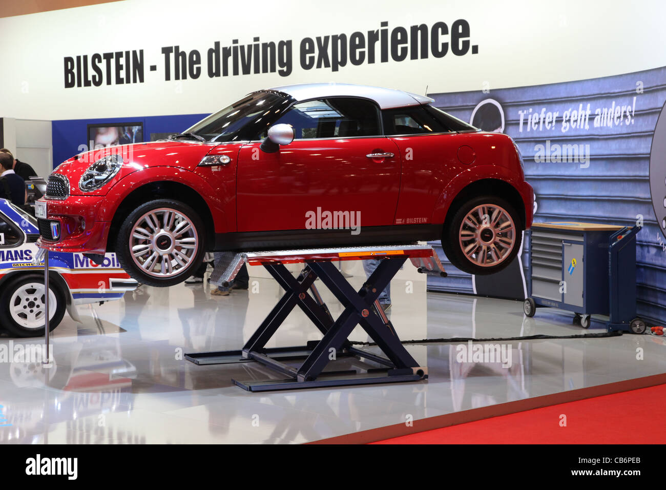 Mini Cooper On A Car Hoist Shown At The Essen Motor Show In Essen
