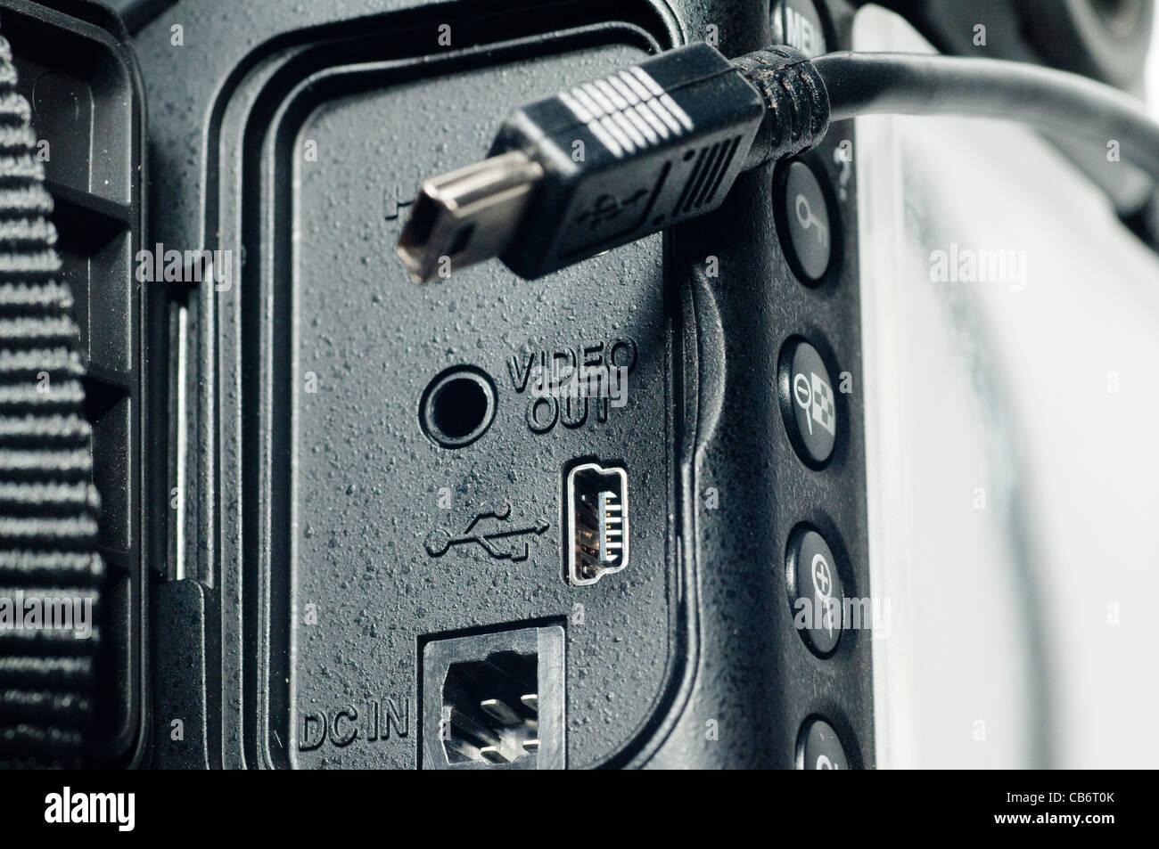 USB 'Type B' female connection on camera - Stock Image