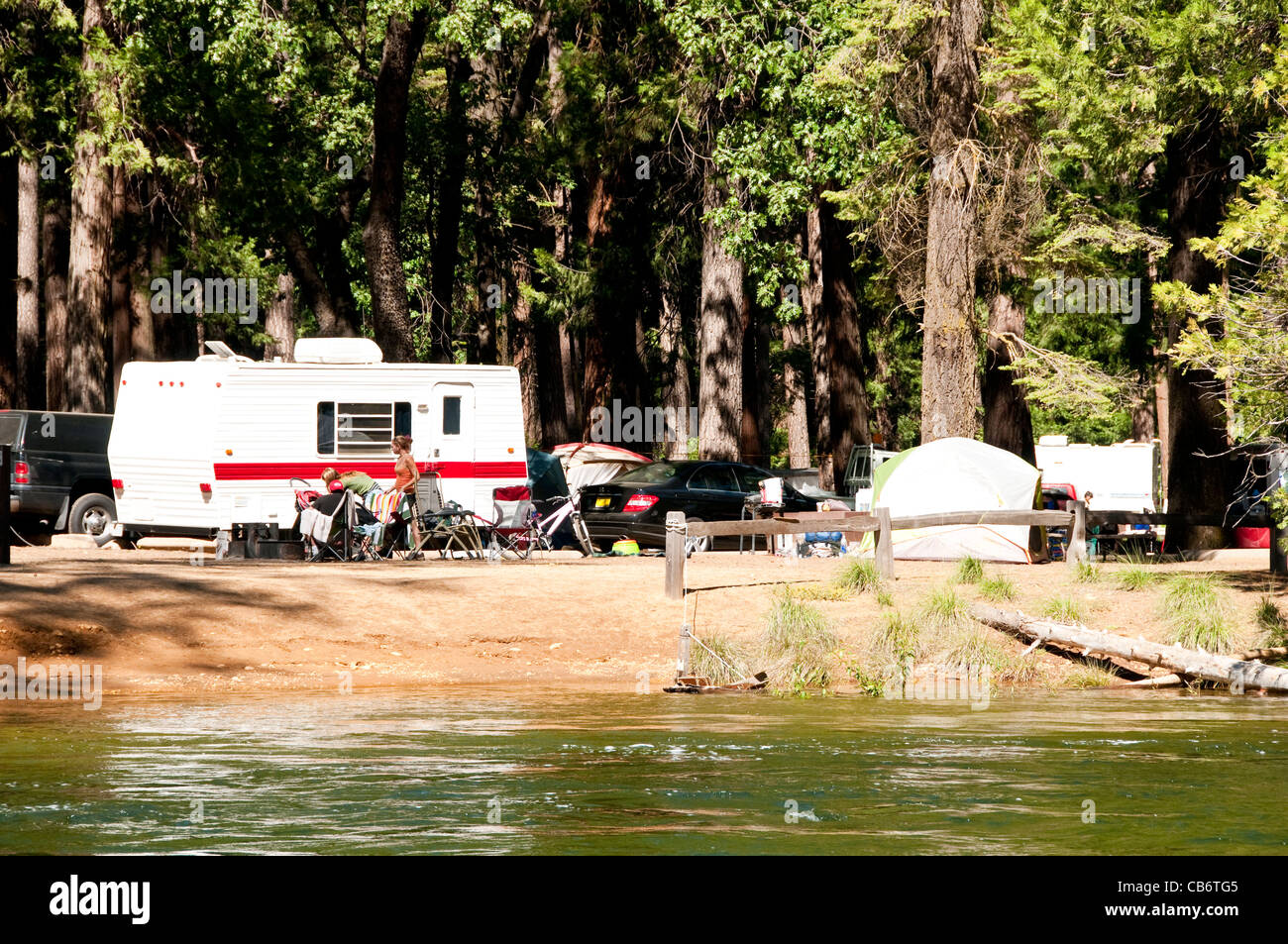 Campsite North Pines Campground Merced River Yosemite National Park California - Stock Image