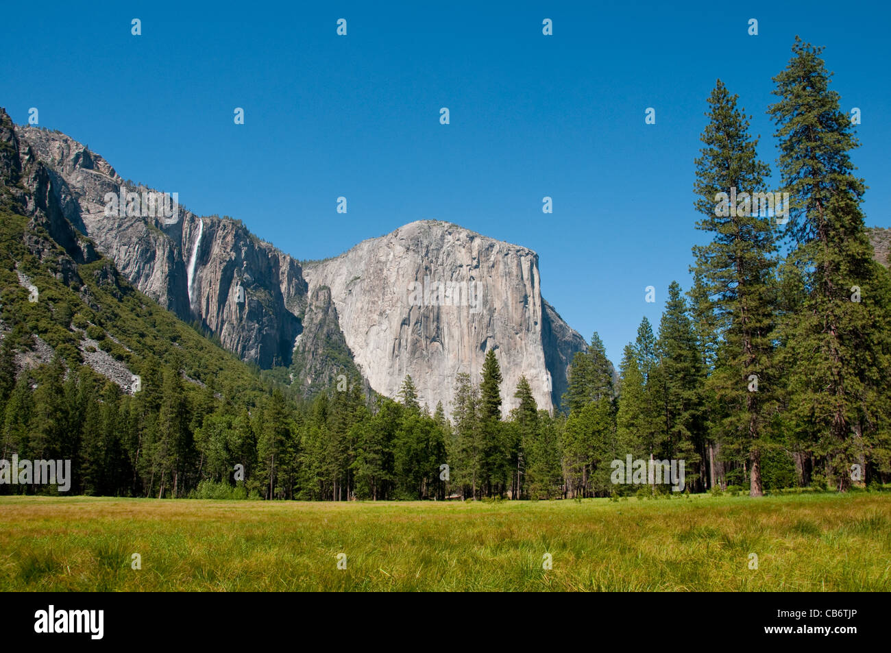 El Capitan, meadow, and Ribbon Falls in Yosemite Valley in Yosemite National Park California - Stock Image