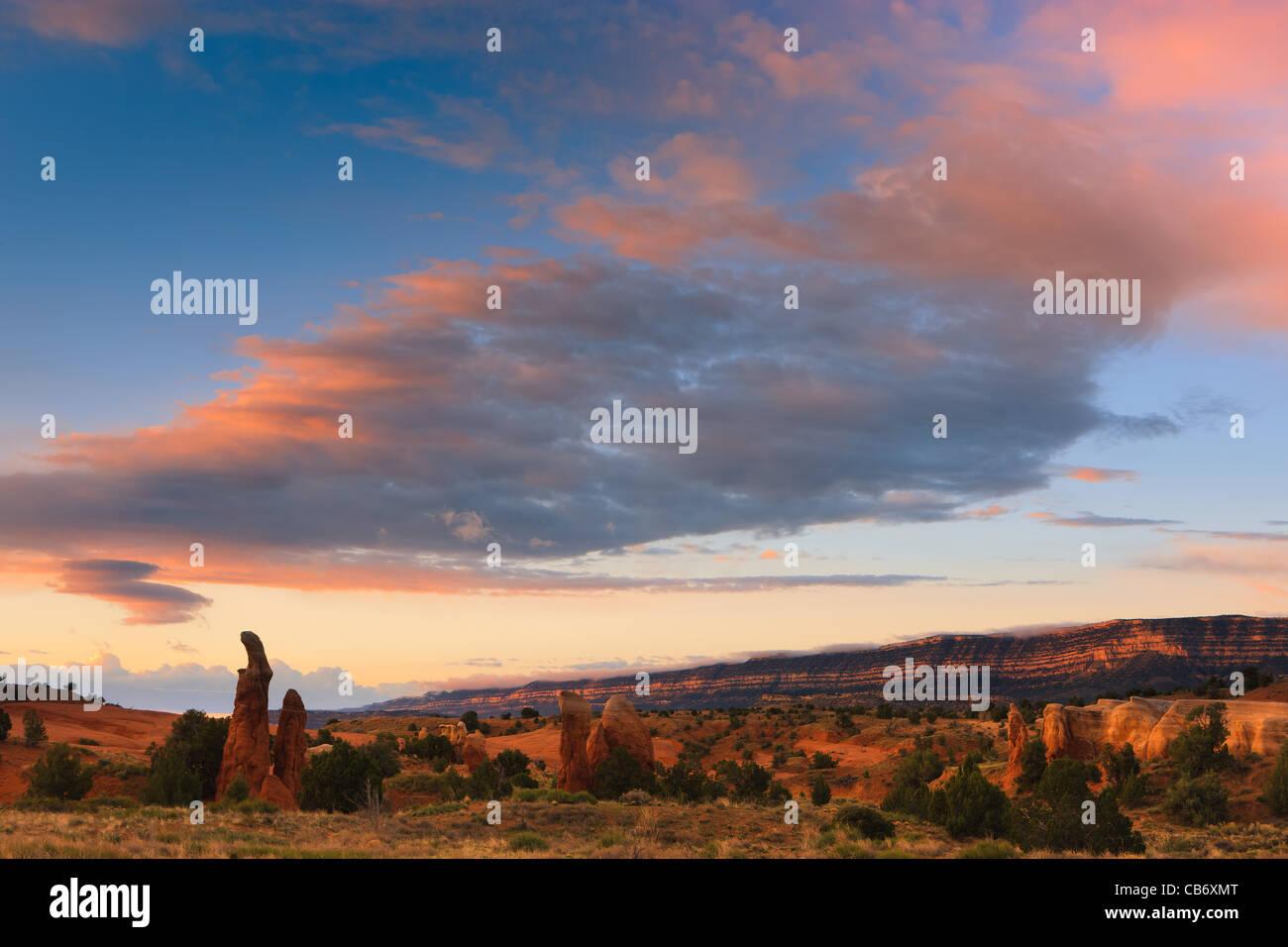 Devils Garden at sunrise near Escalante, Grand Staircase Escalante National Monument, Utah Stock Photo