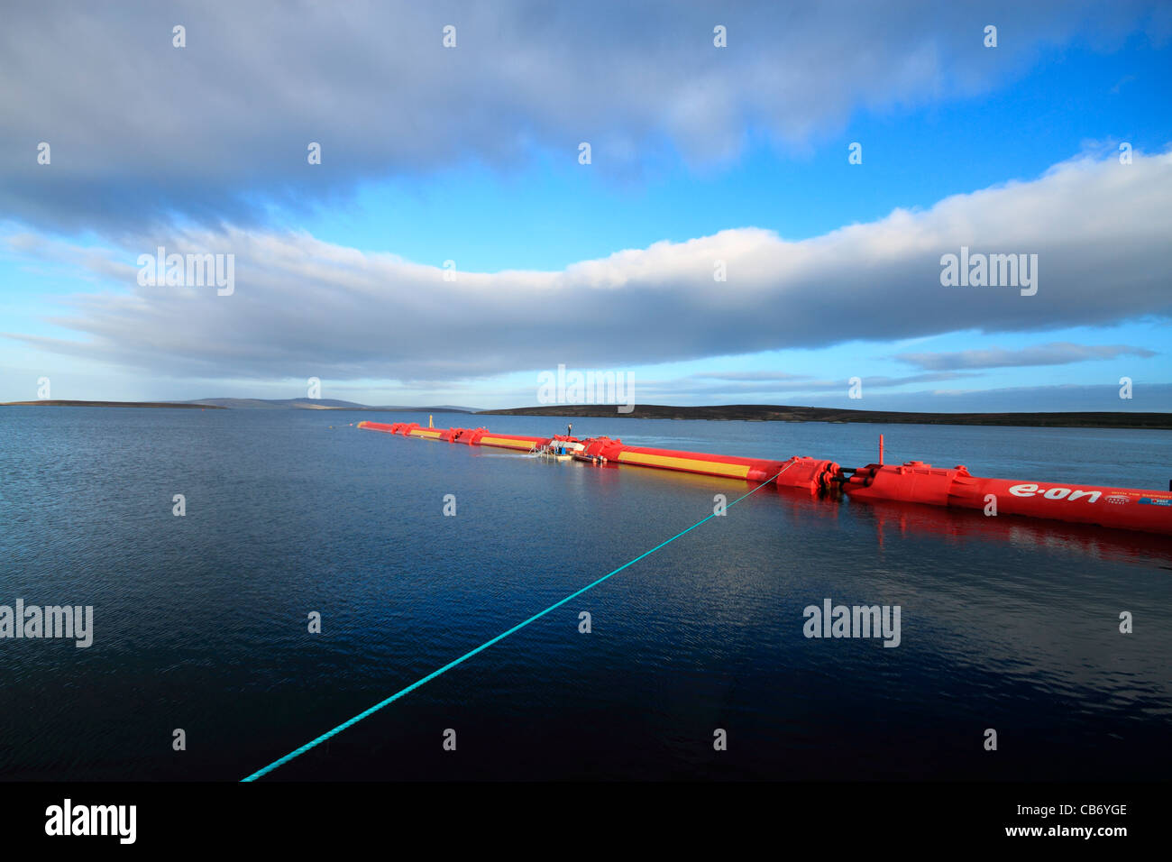 Orkney, Pelamis 2 wave energy converter at Lyness - Stock Image