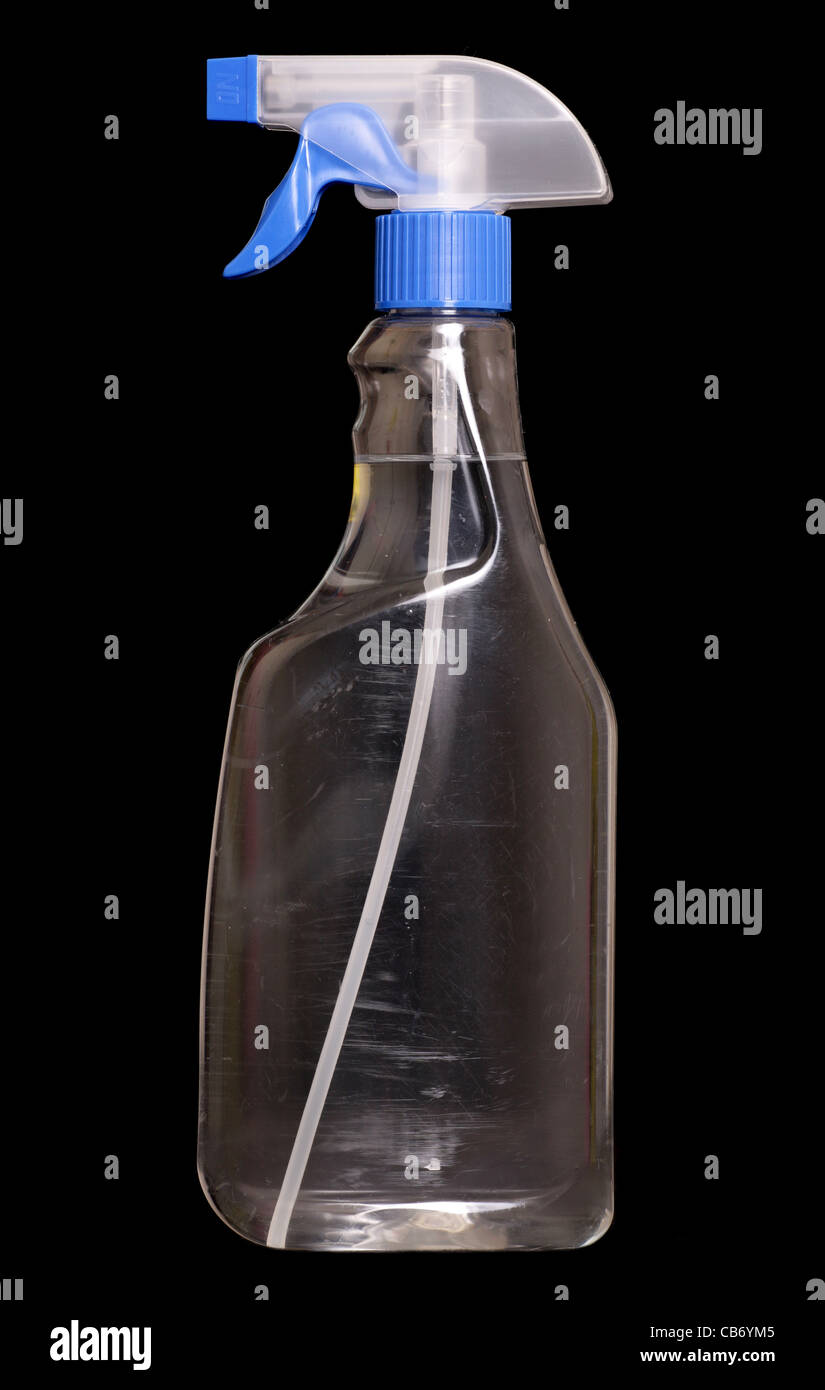 cleaning disinfectant product on black background - Stock Image